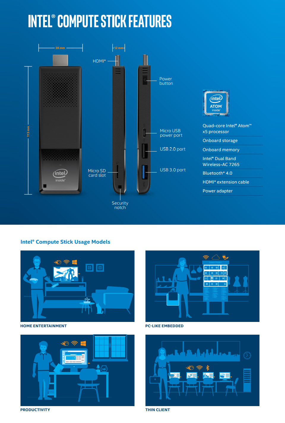 intel compute stick stk1aw32sc windows 10 portable pc. Black Bedroom Furniture Sets. Home Design Ideas