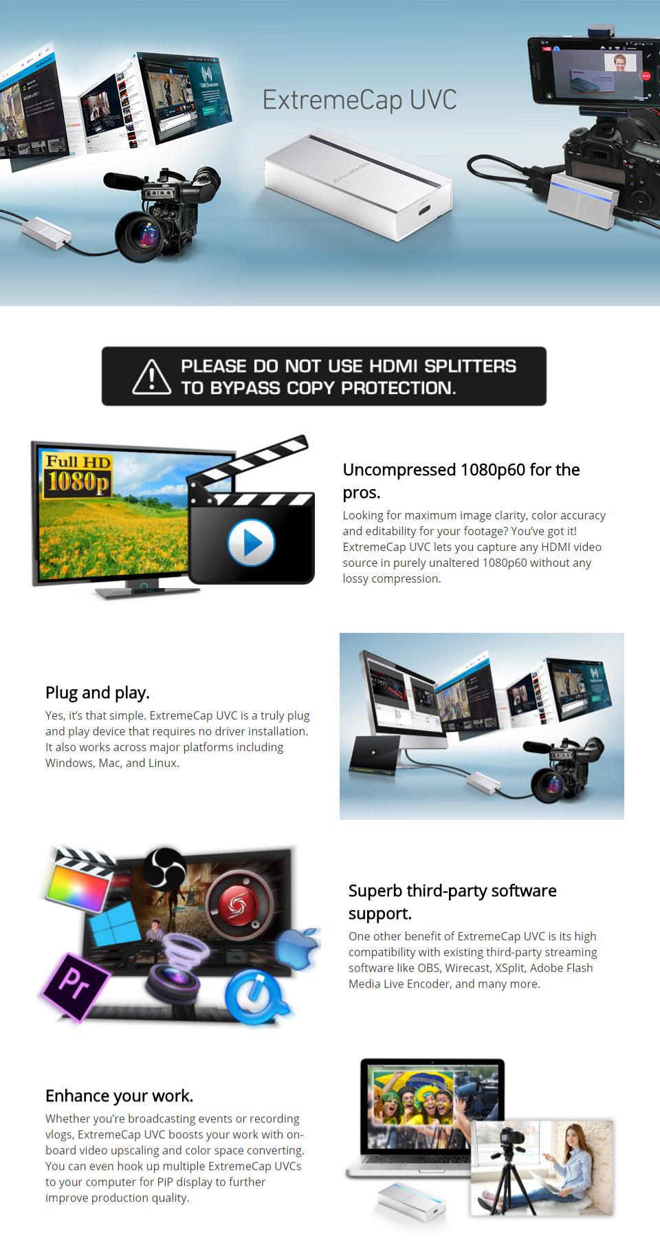 AVerMedia ExtremeCap UVC BU110 HDMI to USB-C Video Converter