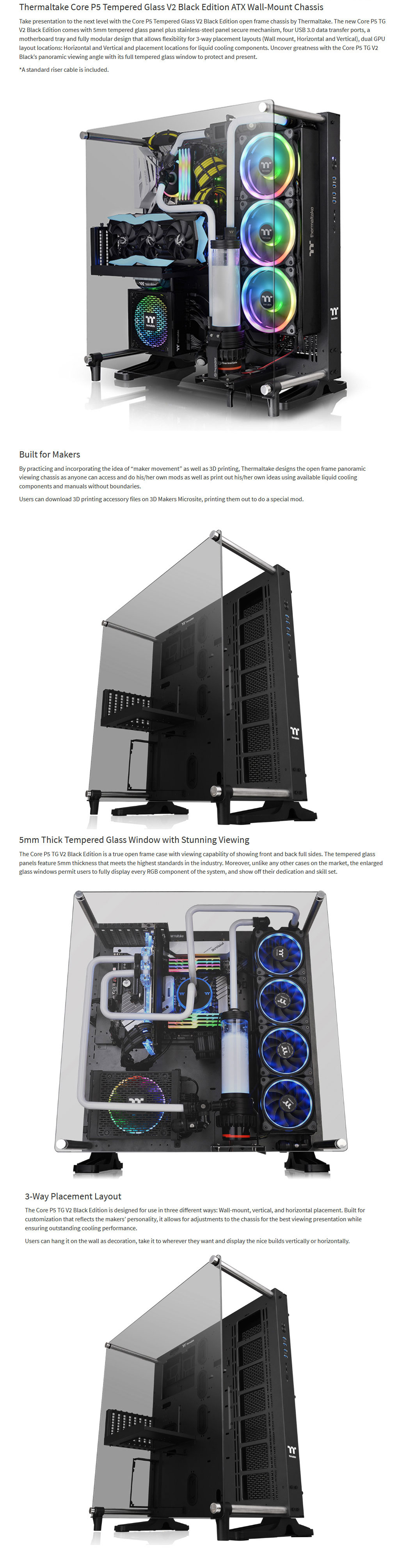 Thermaltake Core P5 Tempered Glass V2 Edition Wall-Mount Chassis