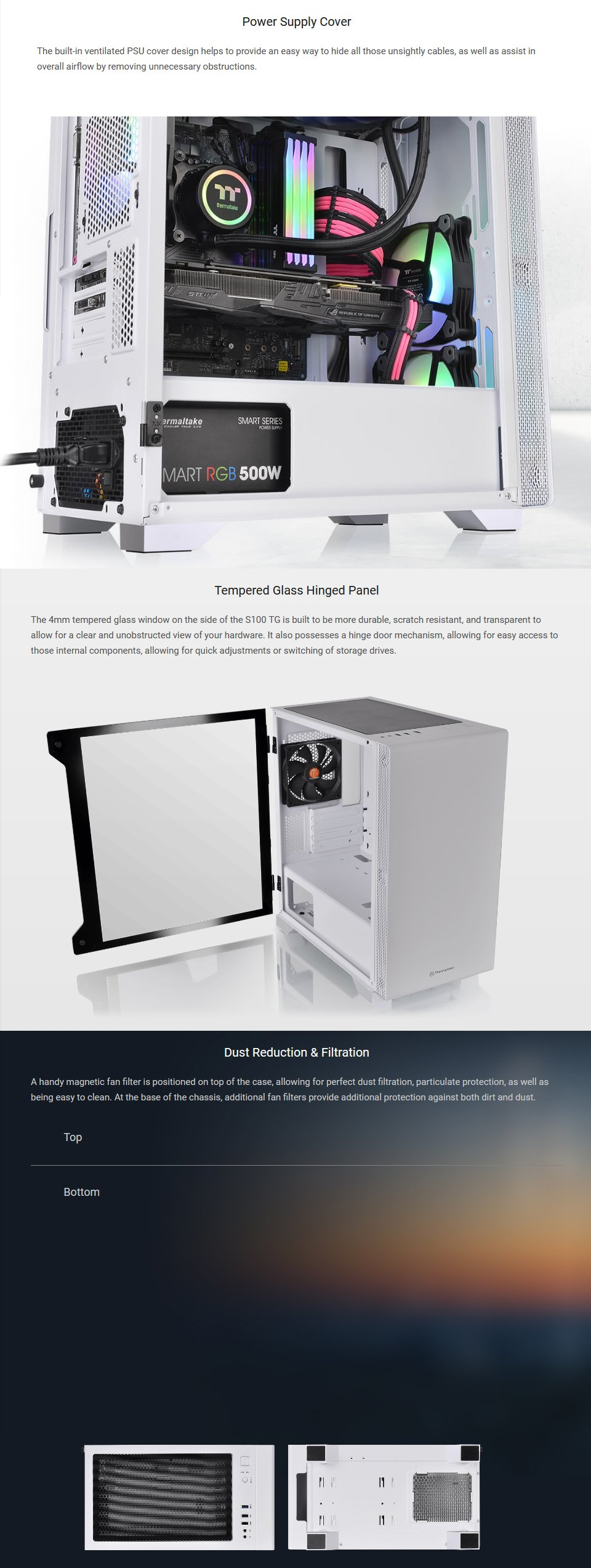 Thermaltake S100 Snow Edition Tempered Glass mATX Case features 2