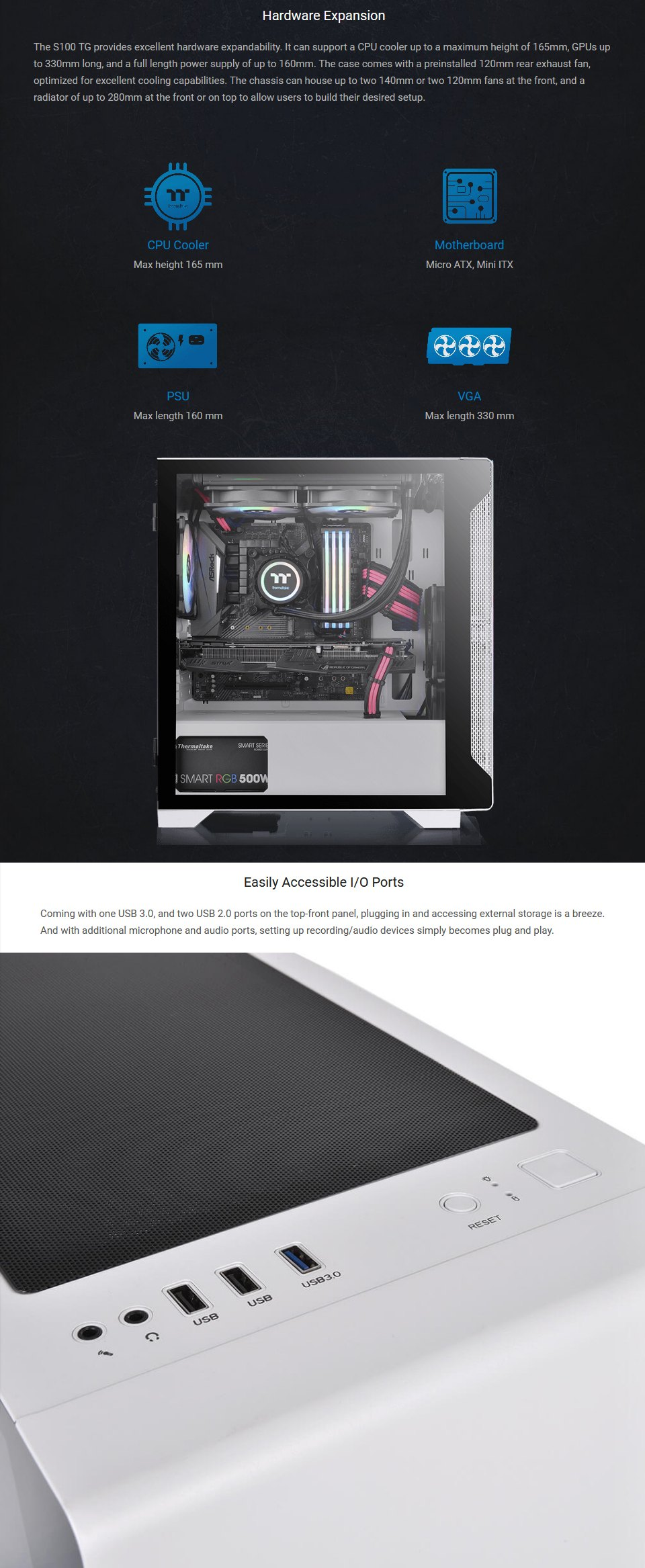 Thermaltake S100 Snow Edition Tempered Glass mATX Case features 3