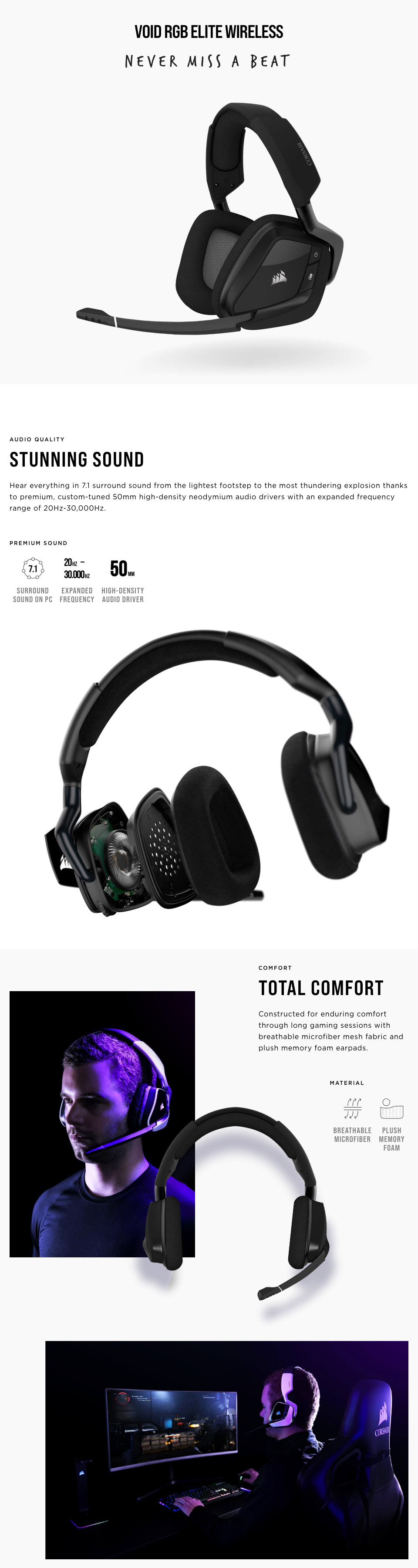 Corsair VOID RGB Elite Wireless Headset with 7.1 Surround Carbon features