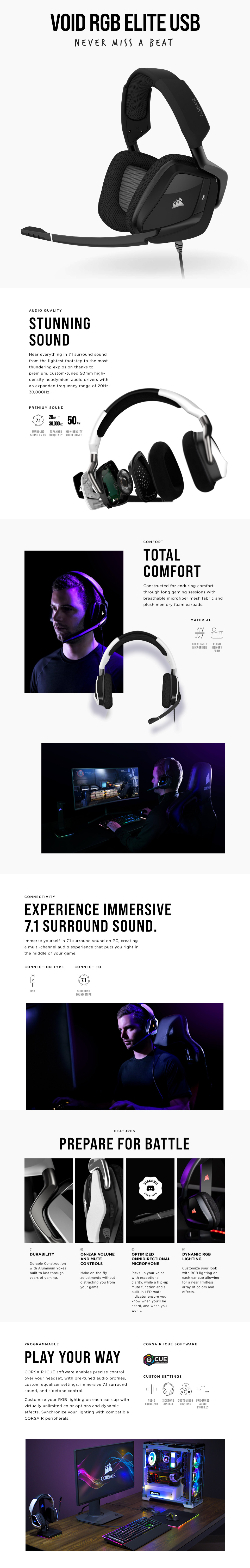 Corsair VOID RGB Elite Headset with 7.1 Surround Carbon features