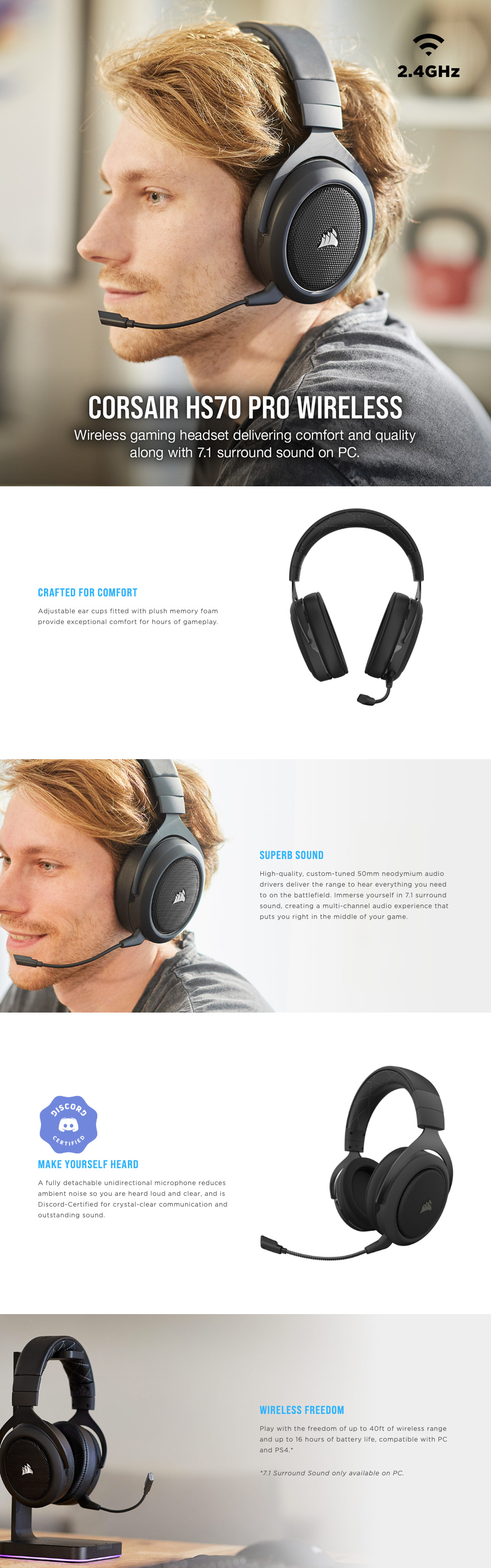 Corsair HS70 PRO Wireless Gaming Headset Carbon features