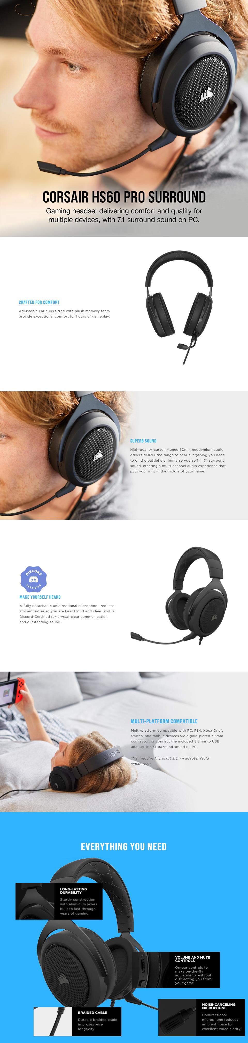 Corsair HS60 PRO Surround Gaming Headset Carbon features