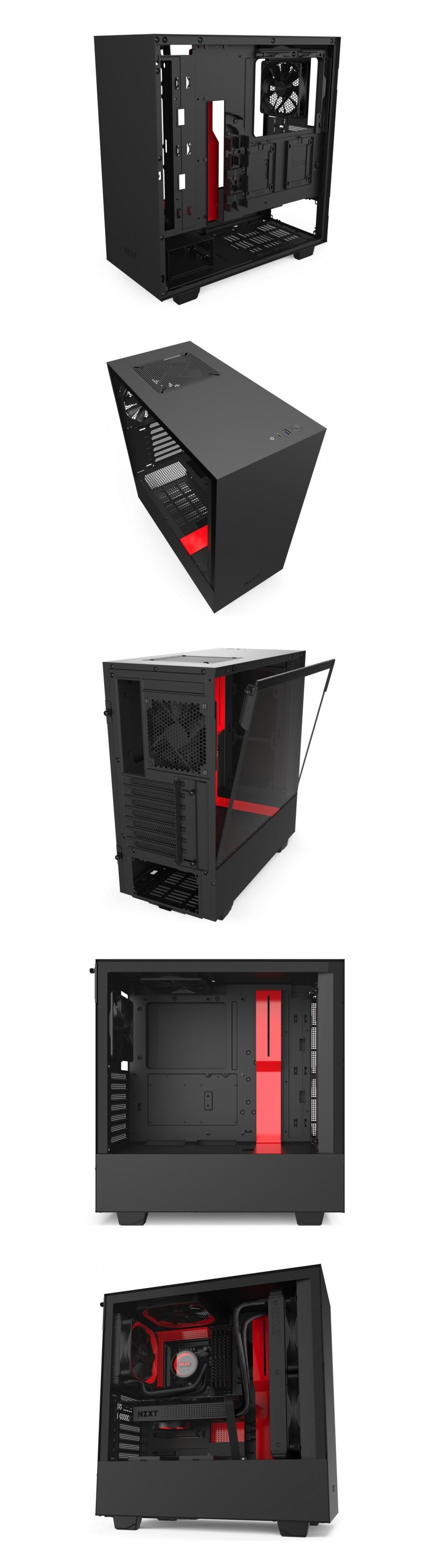 Buy Nzxt H510 Mid Tower Case Matte Black Red Ca H510b Br Pc Case Gear Australia