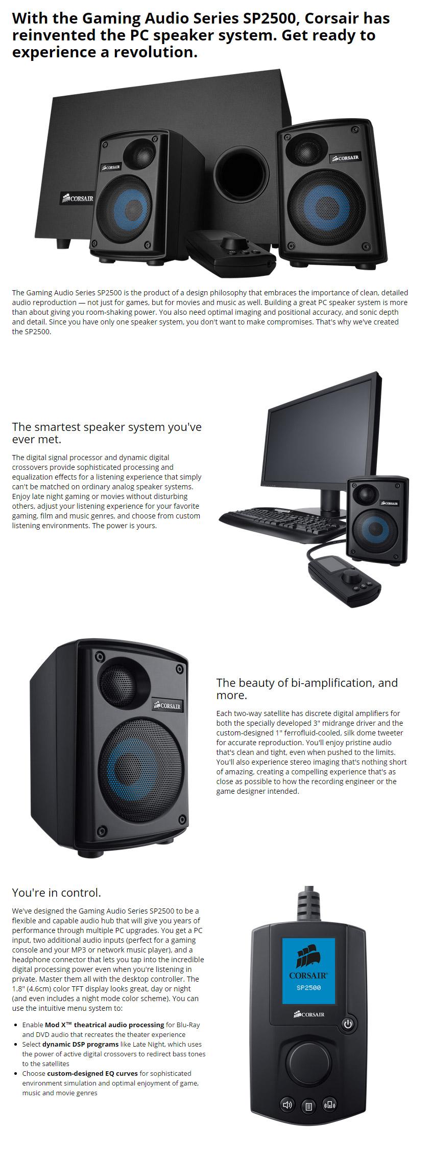 Corsair SP2500 High Power 2 1 PC Speaker System [CA-SP211NA