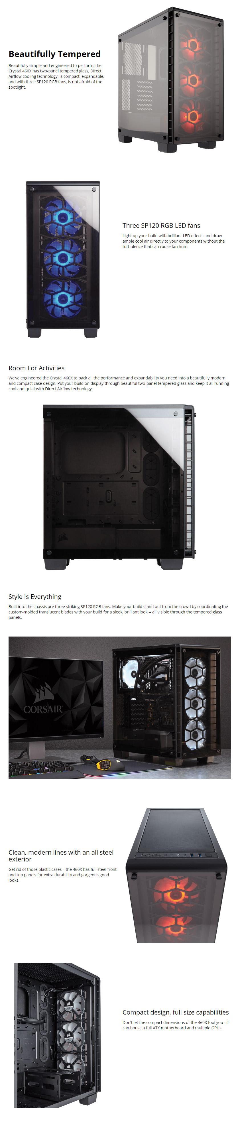Corsair Crystal Series 460X RGB Compact ATX Case [CC-9011101