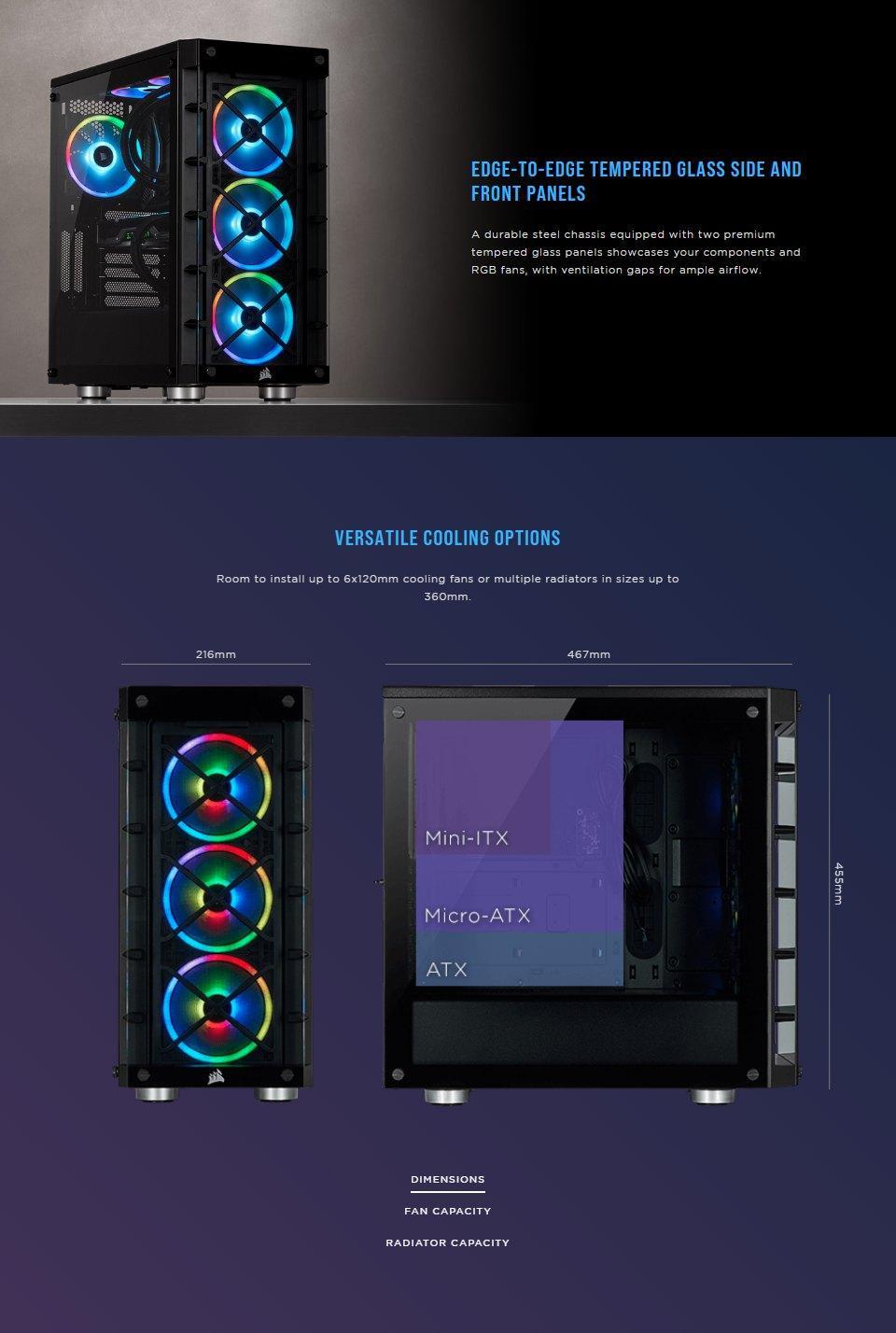 Corsair iCUE 465X RGB Tempered Glass Case Black features