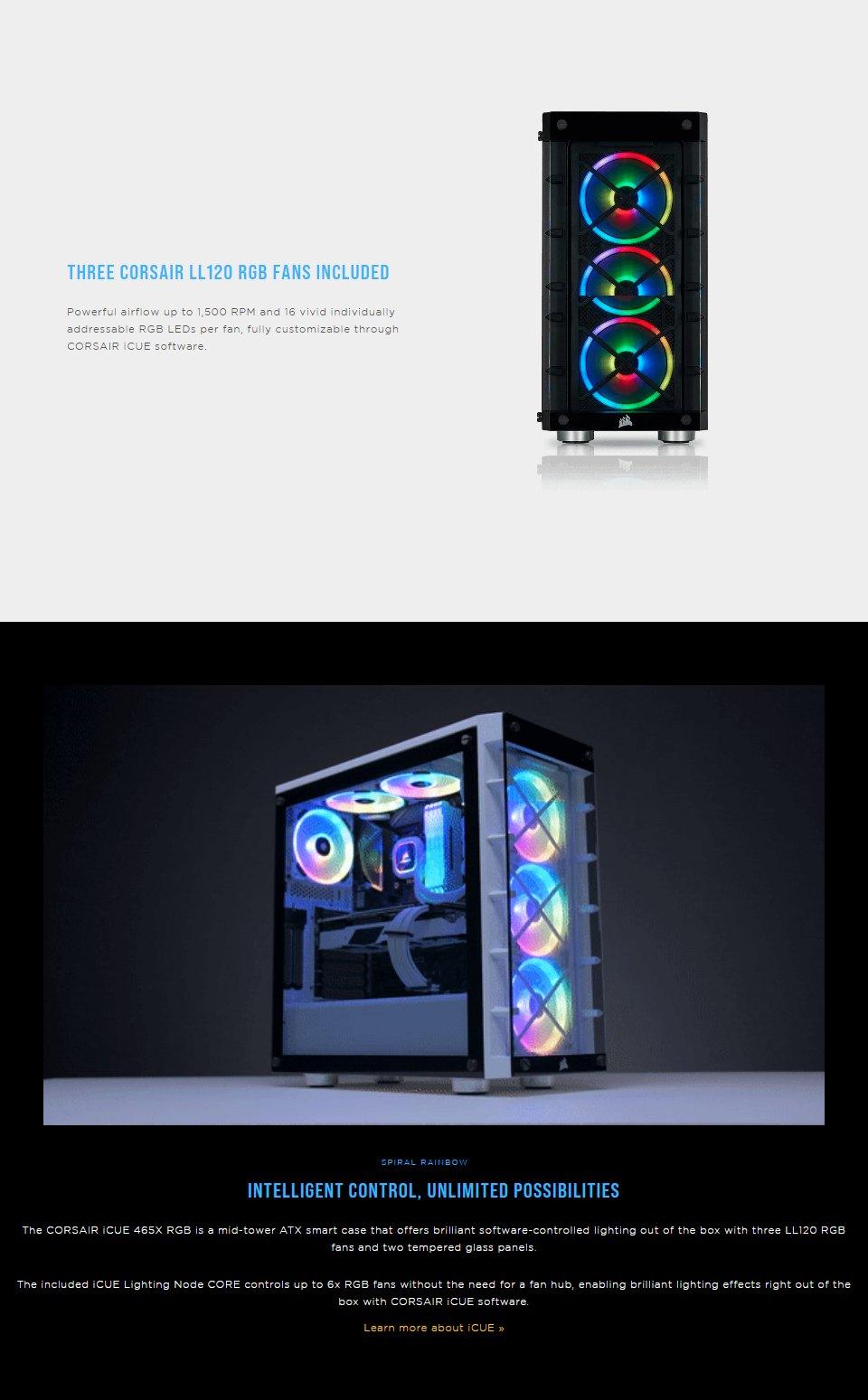 Corsair iCUE 465X RGB Tempered Glass Case Black features 2