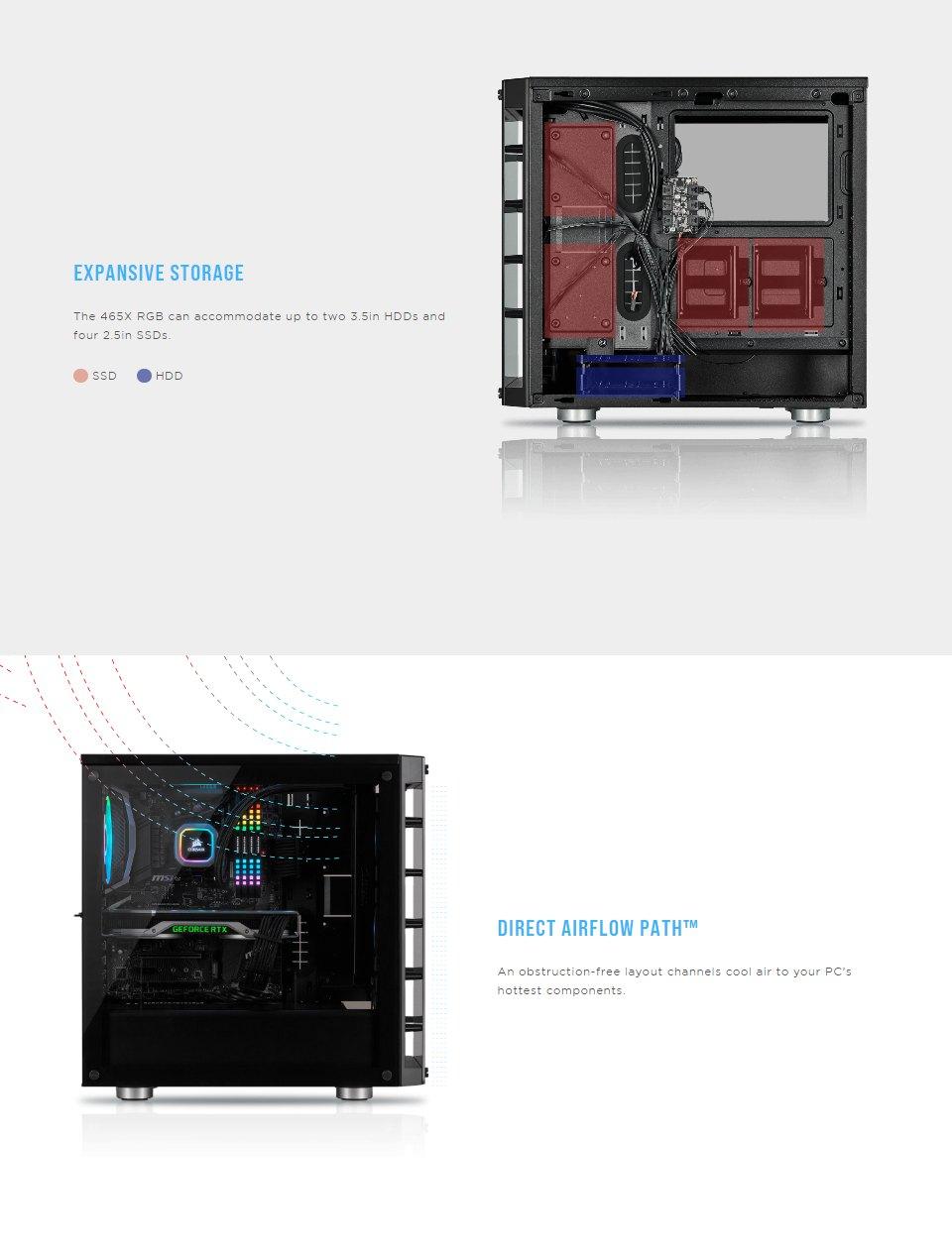 Corsair iCUE 465X RGB Tempered Glass Case Black features 3