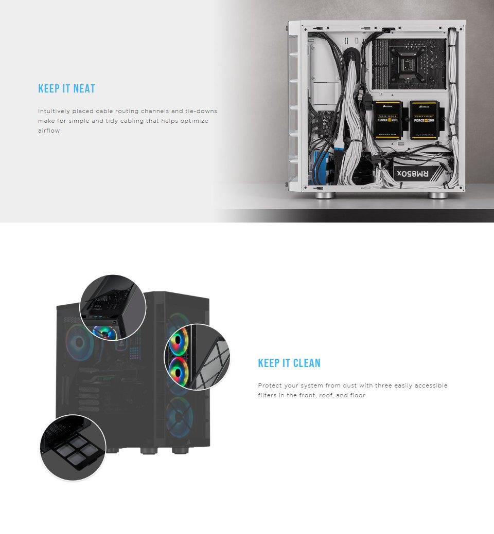 Corsair iCUE 465X RGB Tempered Glass Case Black features 4