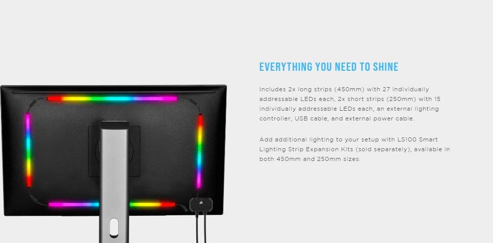 Corsair iCUE LS100 Smart Lighting Strip Expansion Kit 250mm features 2