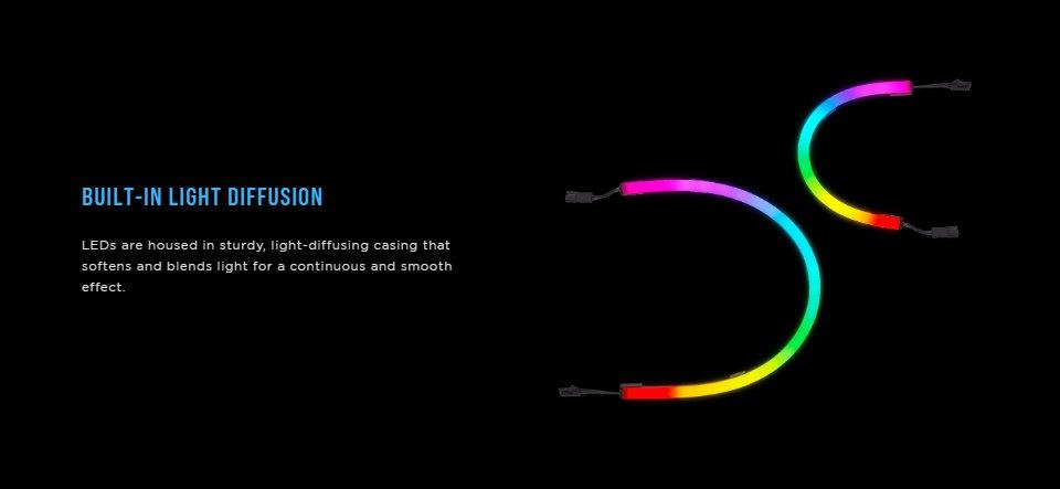 Corsair iCUE LS100 Smart Lighting Strip Expansion Kit 250mm features 3