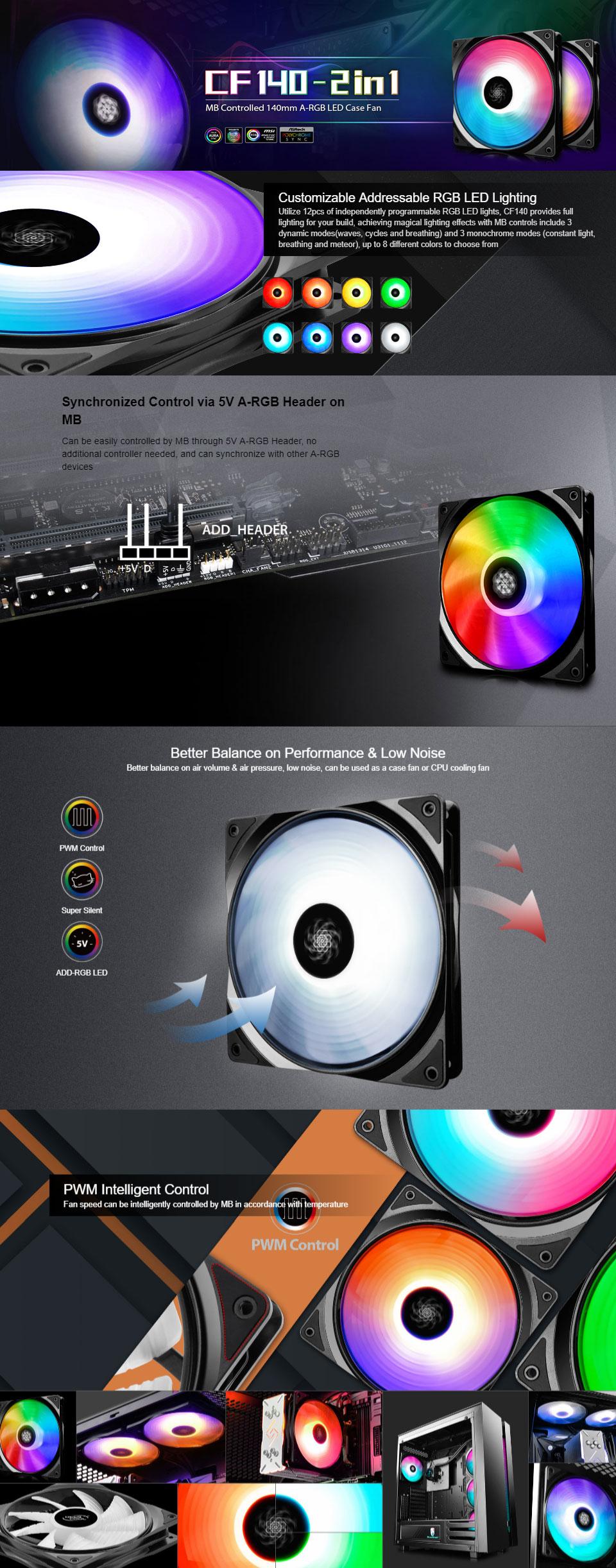 Deepcool CF-140 ARGB Fan 140mm 2 Pack [CF-140-2-IN-1] : PC Case Gear