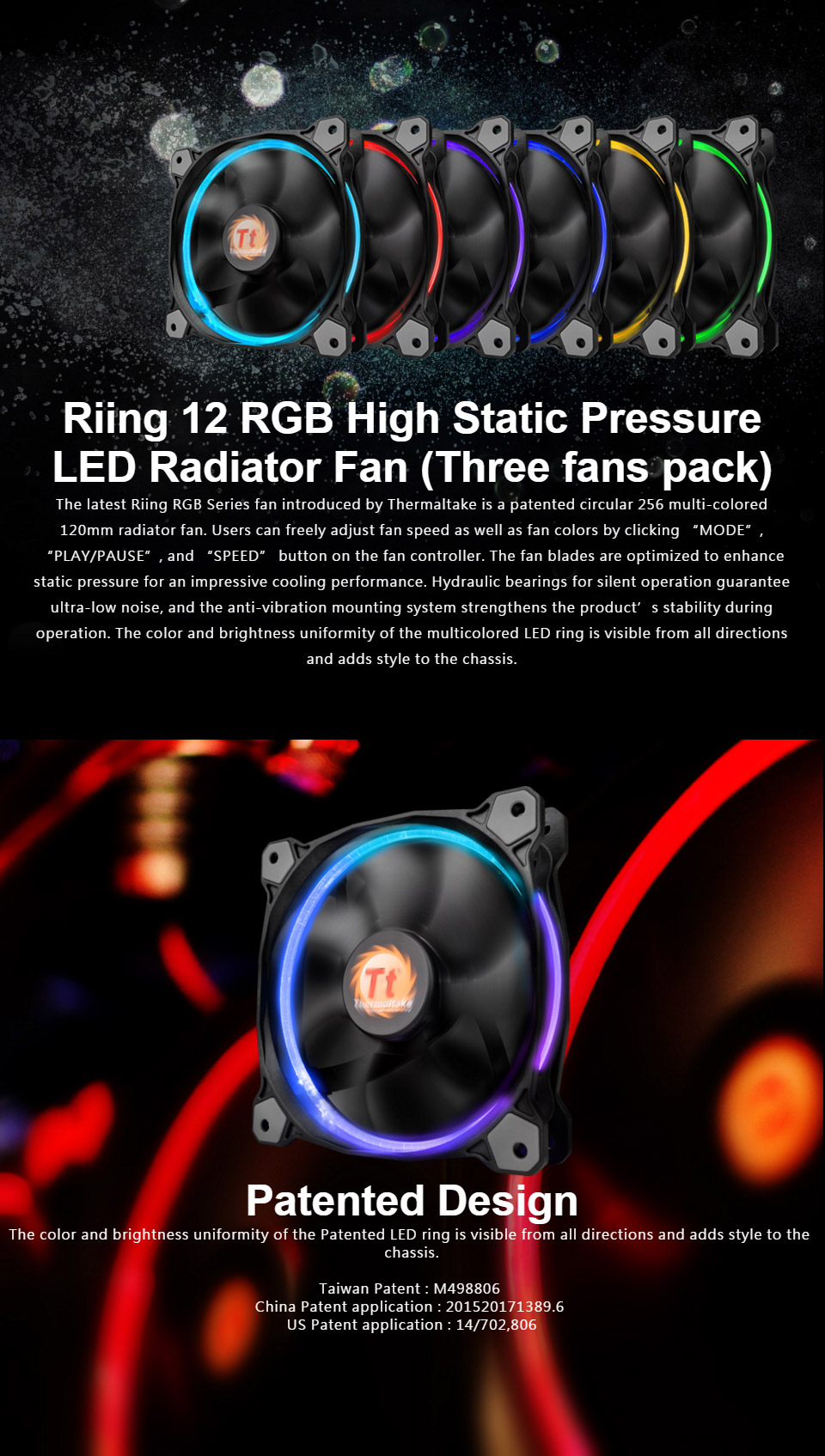 Thermaltake Riing 120mm Rgb Fan 3 Pack With Controller Cl