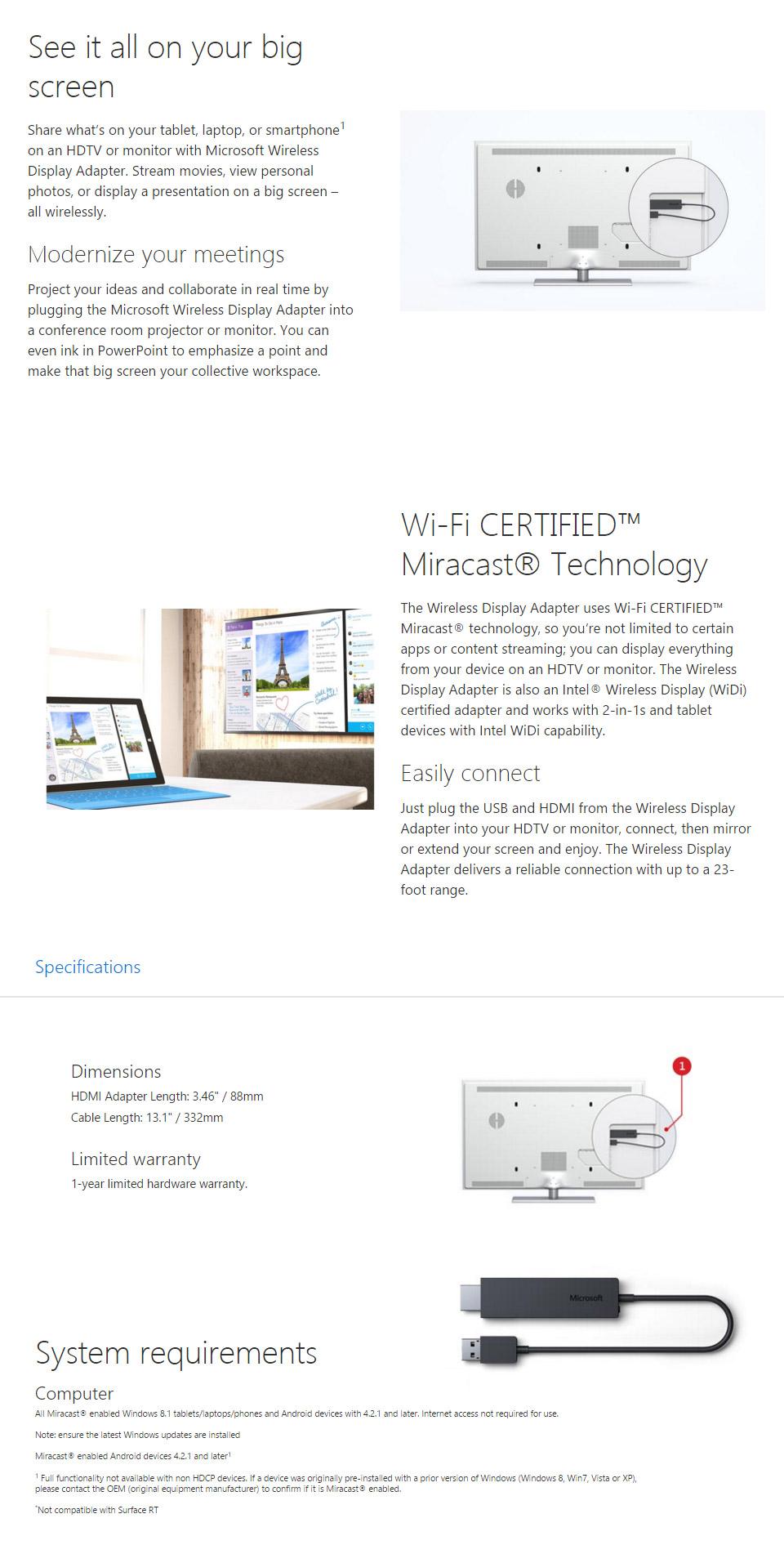 Microsoft Wireless Display Adapter V1 [CG4-00016(WLDSPADPT)] : PC