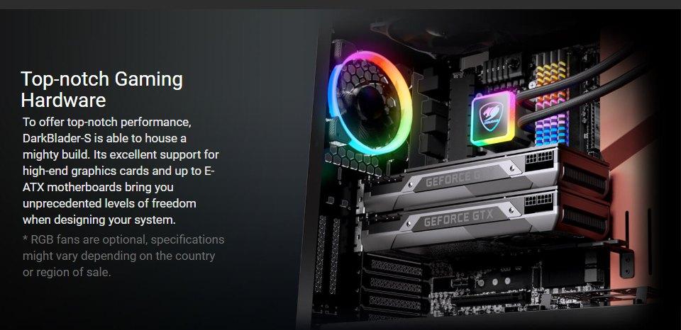 Cougar DarkBlader S RGB TG Full Tower Case Black features 5