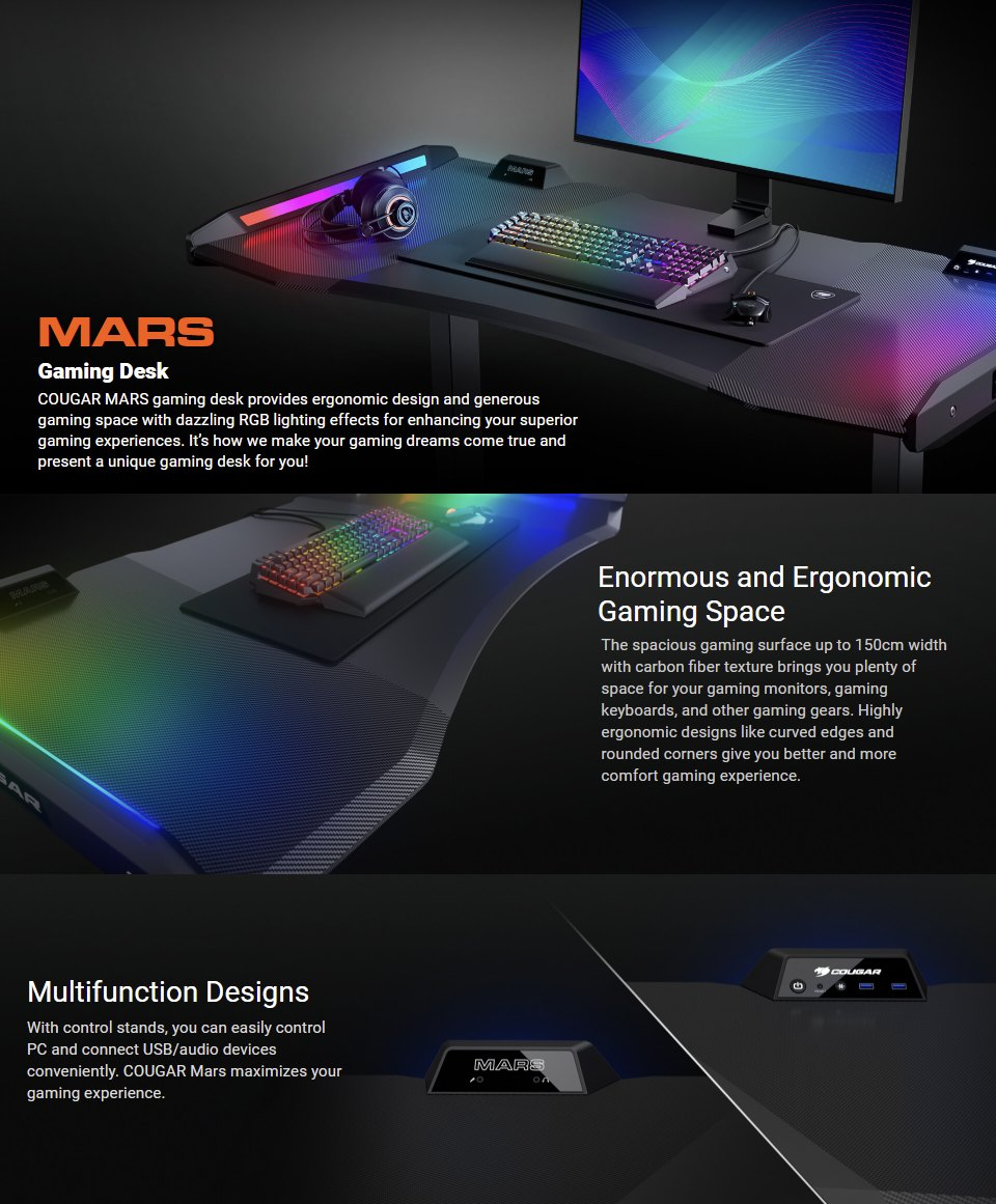 Cougar Mars Height Adjustable RGB Gaming Desk features