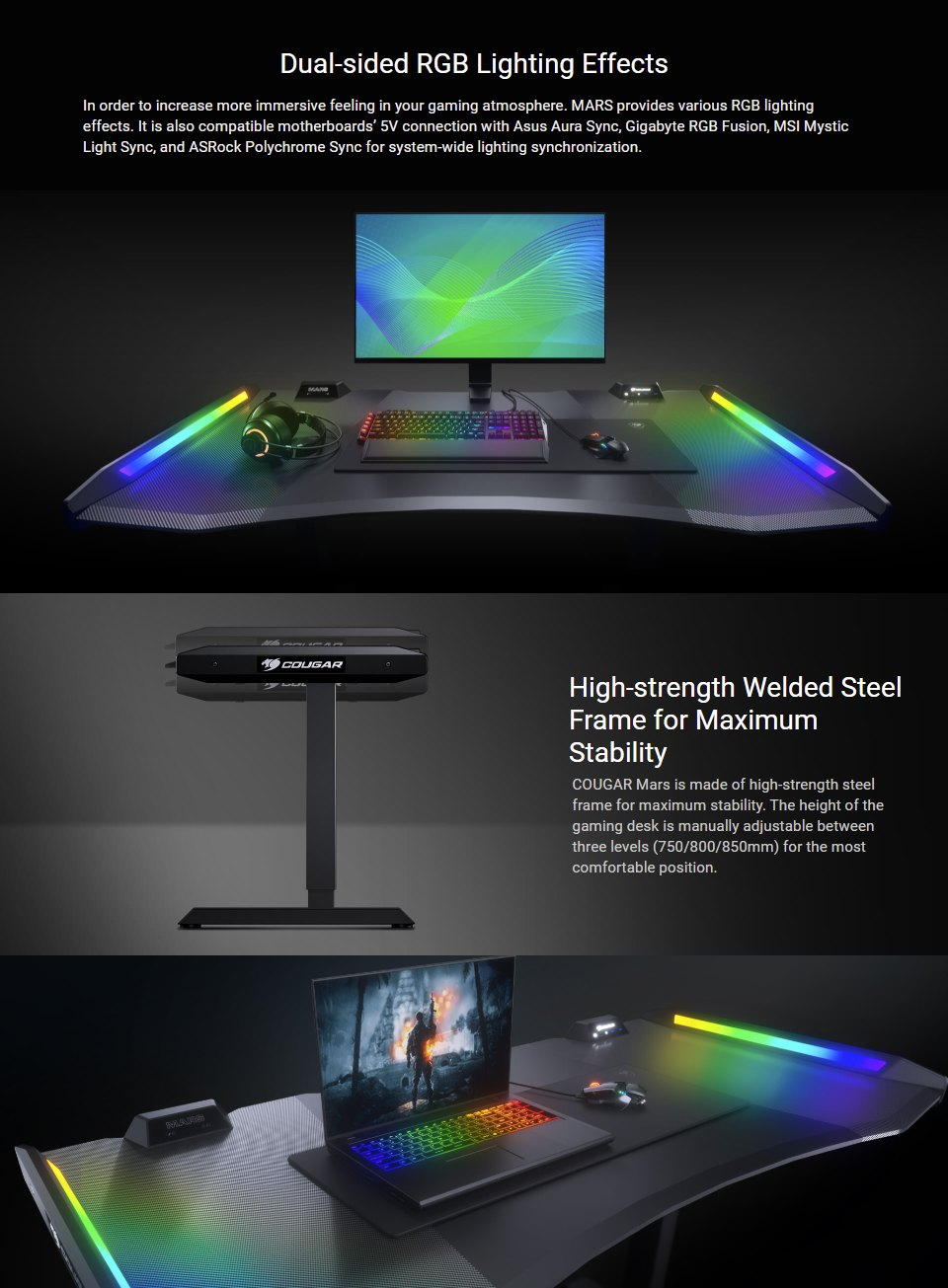 Cougar Mars Height Adjustable RGB Gaming Desk features 2