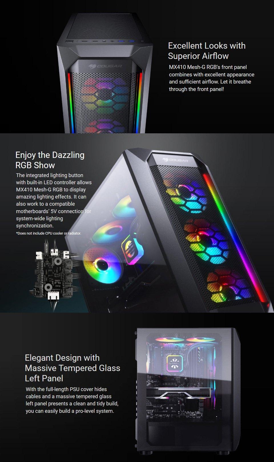 Cougar MX410 Mesh-G RGB Case features