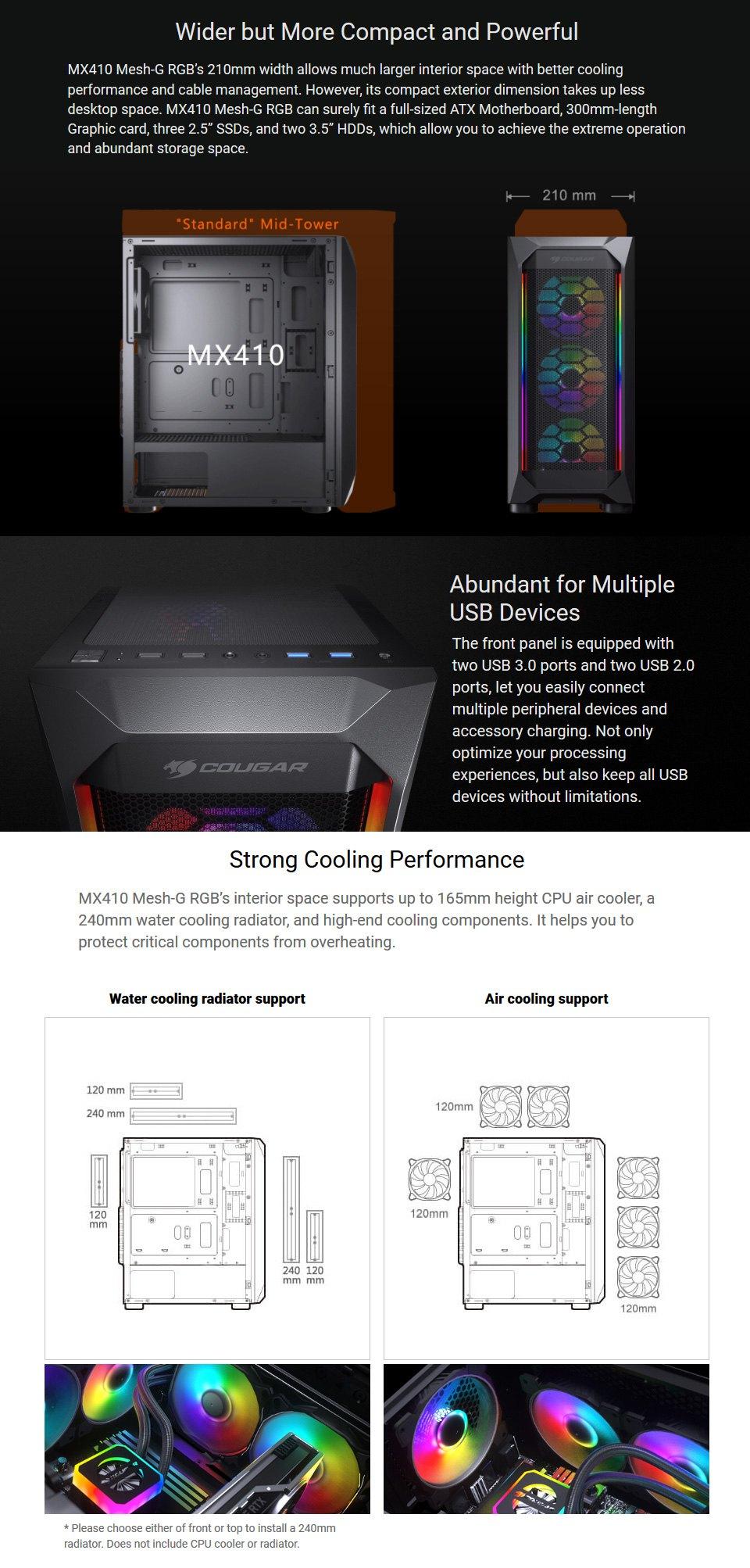 Cougar MX410 Mesh-G RGB Case features 2