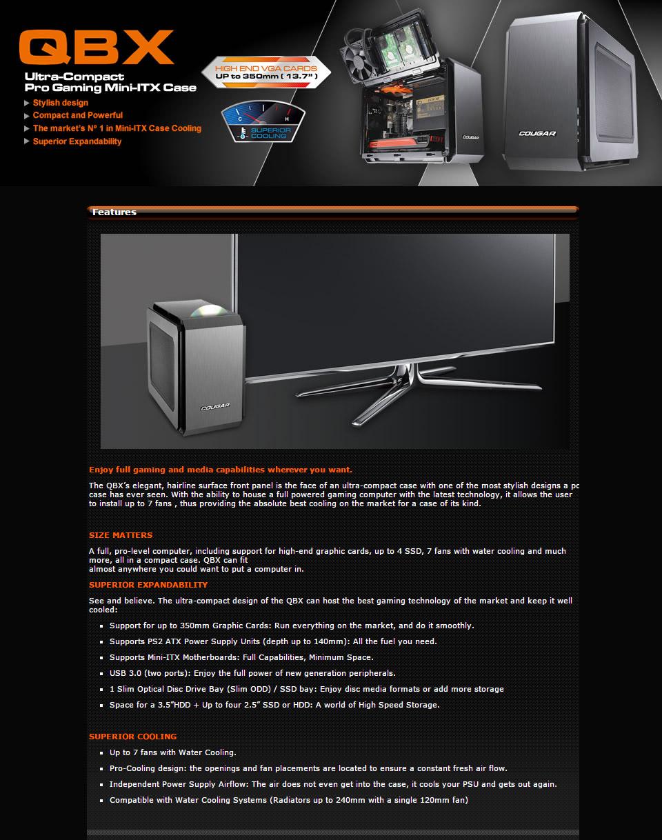 Cougar QBX Black Mini ITX Case