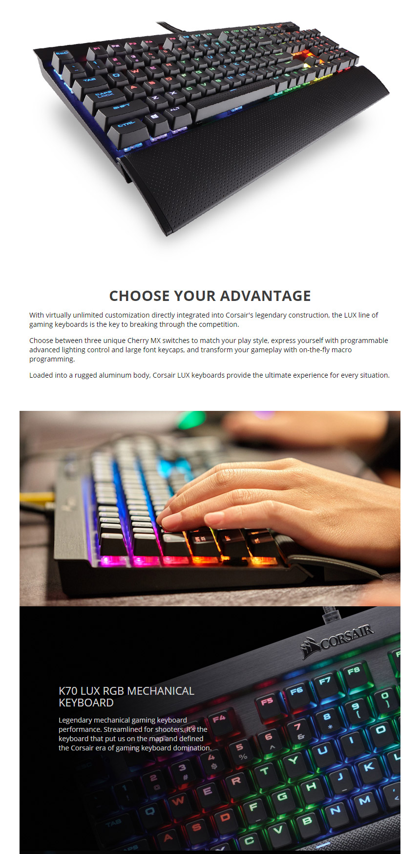 Corsair K70 Lux Rgb Mechanical Keyboard Cherry Brown Ch 9101012 Na Gaming K95 Mx Pc Case Gear