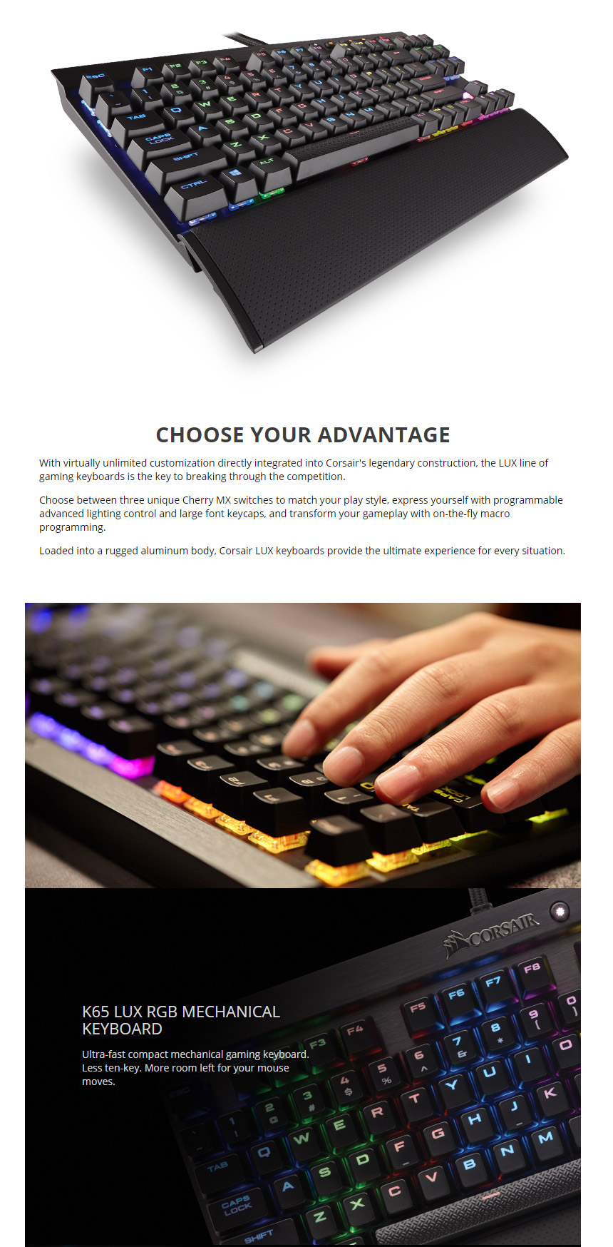Corsair K65 Lux Rgb Compact Mechanical Gaming Keyboard Cherry Mx Red Switch Product Description