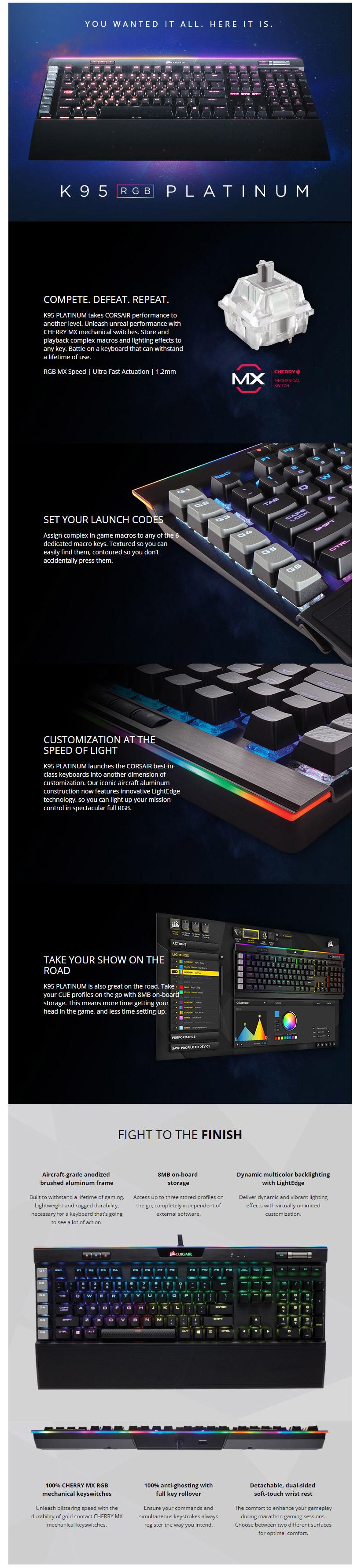 מקלדת גיימינג מכנית (K95 RGB PLATINUM— CHERRY® MX Speed — Black (KR2