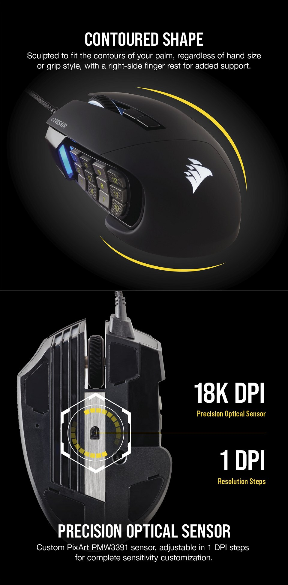 Corsair Scimitar Elite RGB Optical Gaming Mouse features 2