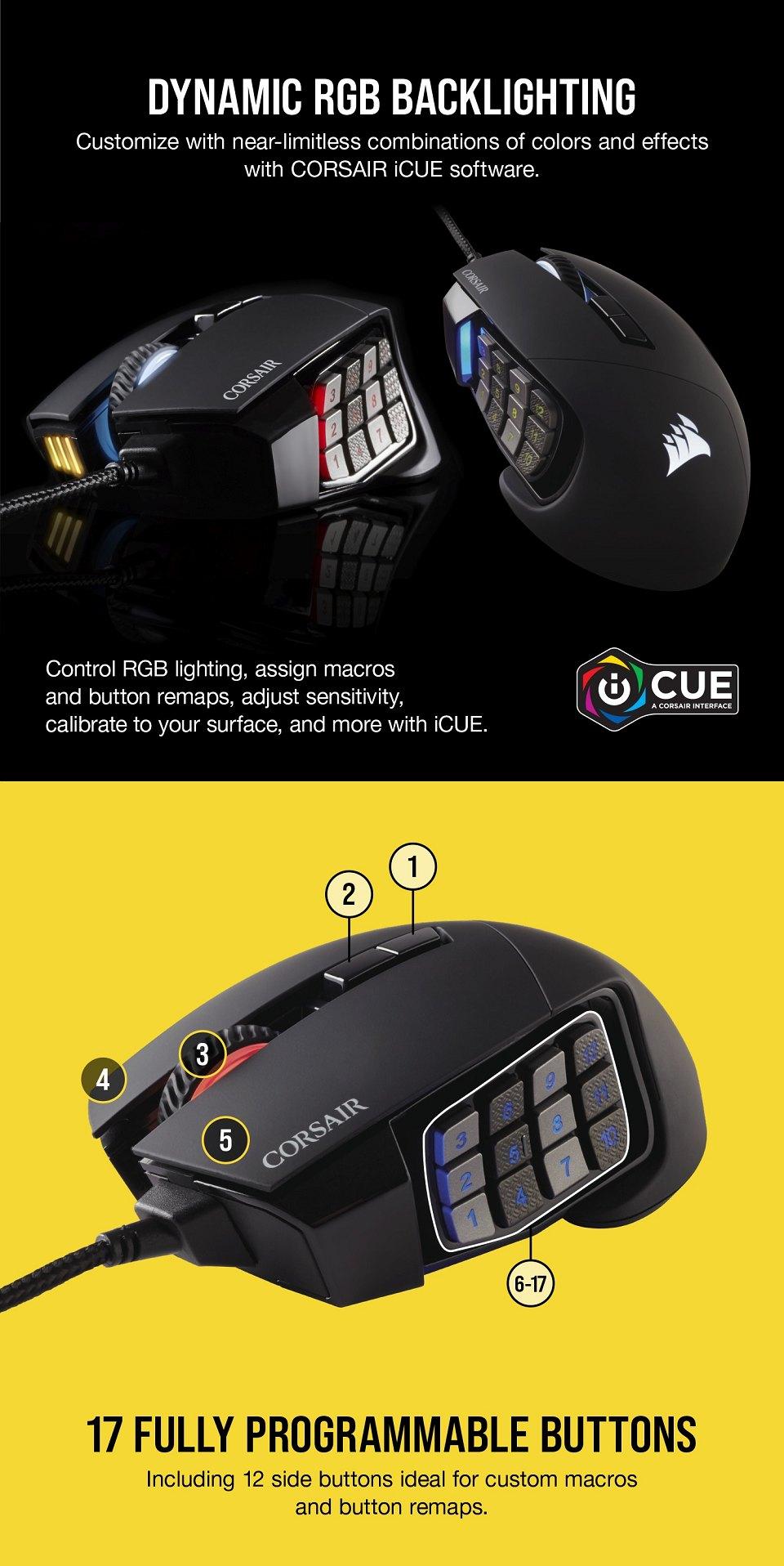 Corsair Scimitar Elite RGB Optical Gaming Mouse features 3