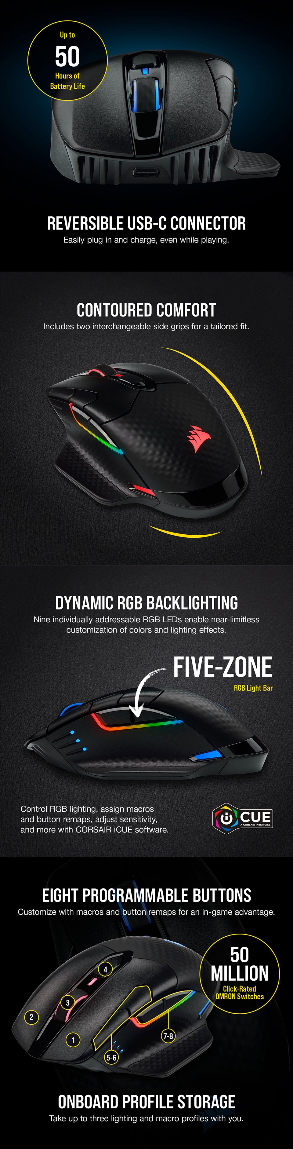 Corsair Dark Core Pro RGB Wireless Gaming Mouse features 2