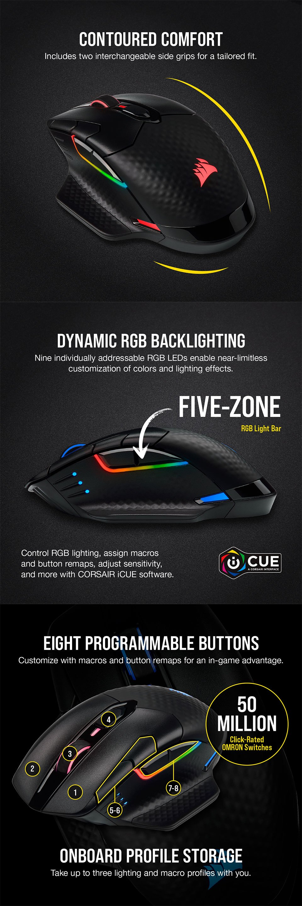 Corsair Dark Core Pro SE RGB Wireless Gaming Mouse features 2