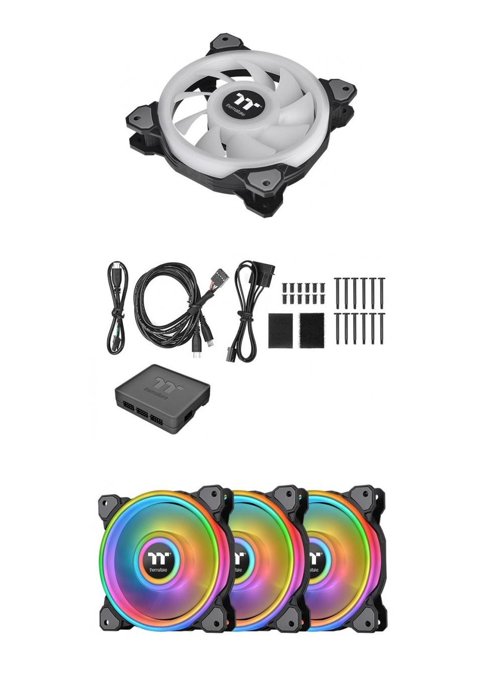 Thermaltake Riing Quad 12 RGB Radiator 120MM Fan 3 Pack Black product