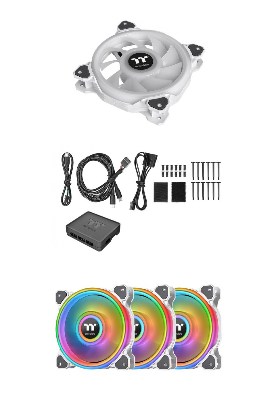 Thermaltake Riing Quad 14 RGB Radiator 140MM Fan 3 Pack White product