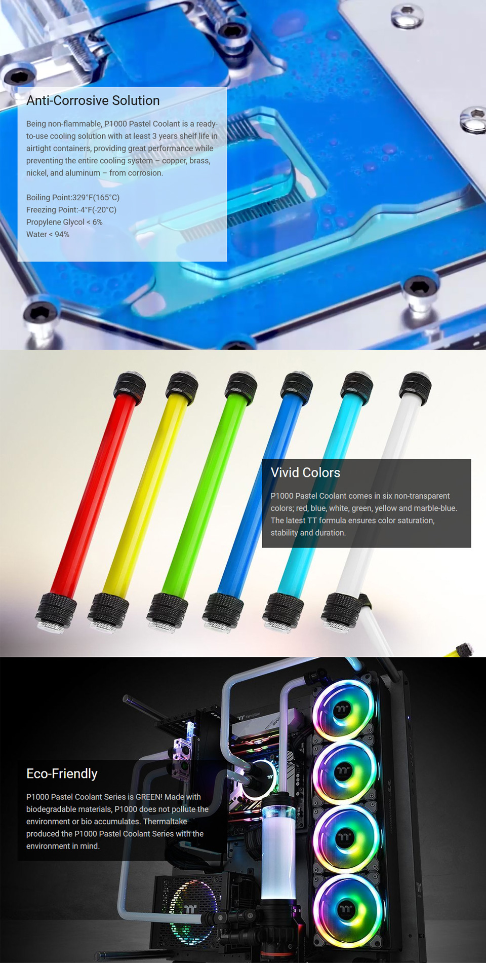 Thermaltake P1000 Pastel Coolant 1L Marble Blue features
