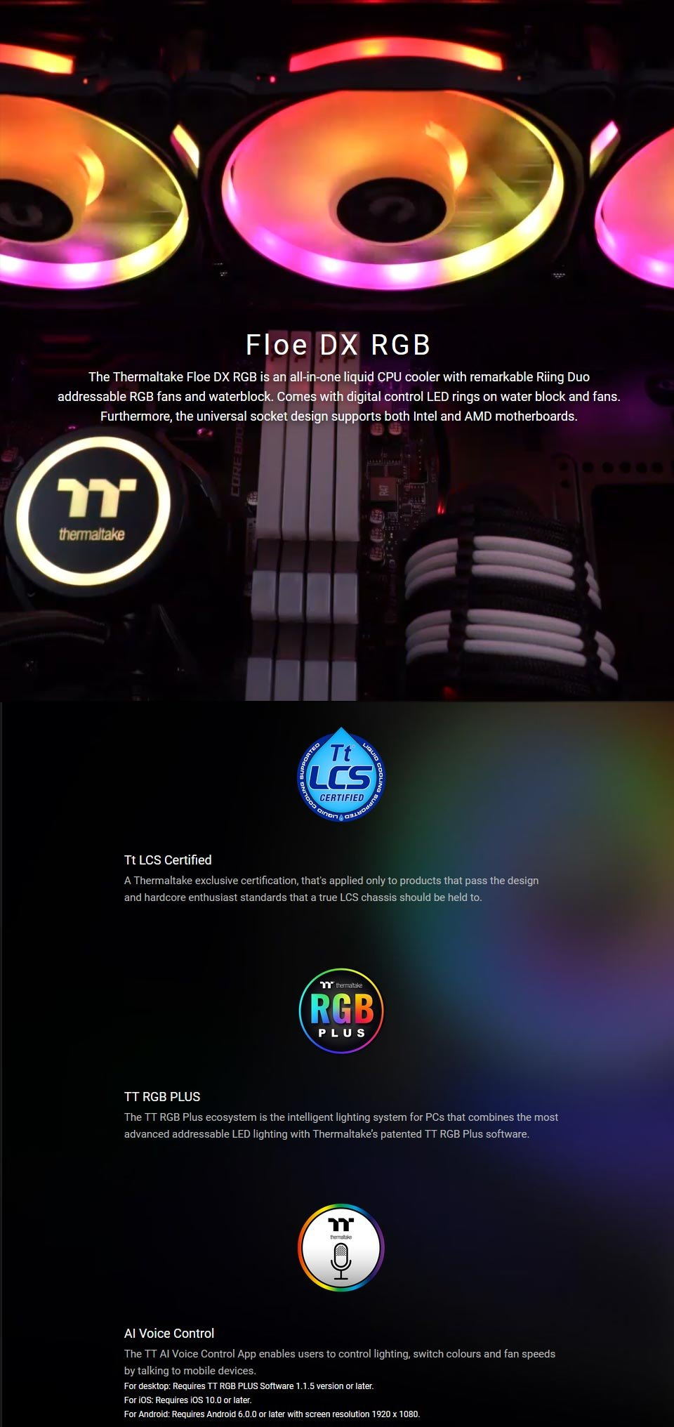 Thermaltake Floe DX RGB 360mm AIO Liquid CPU Cooler features