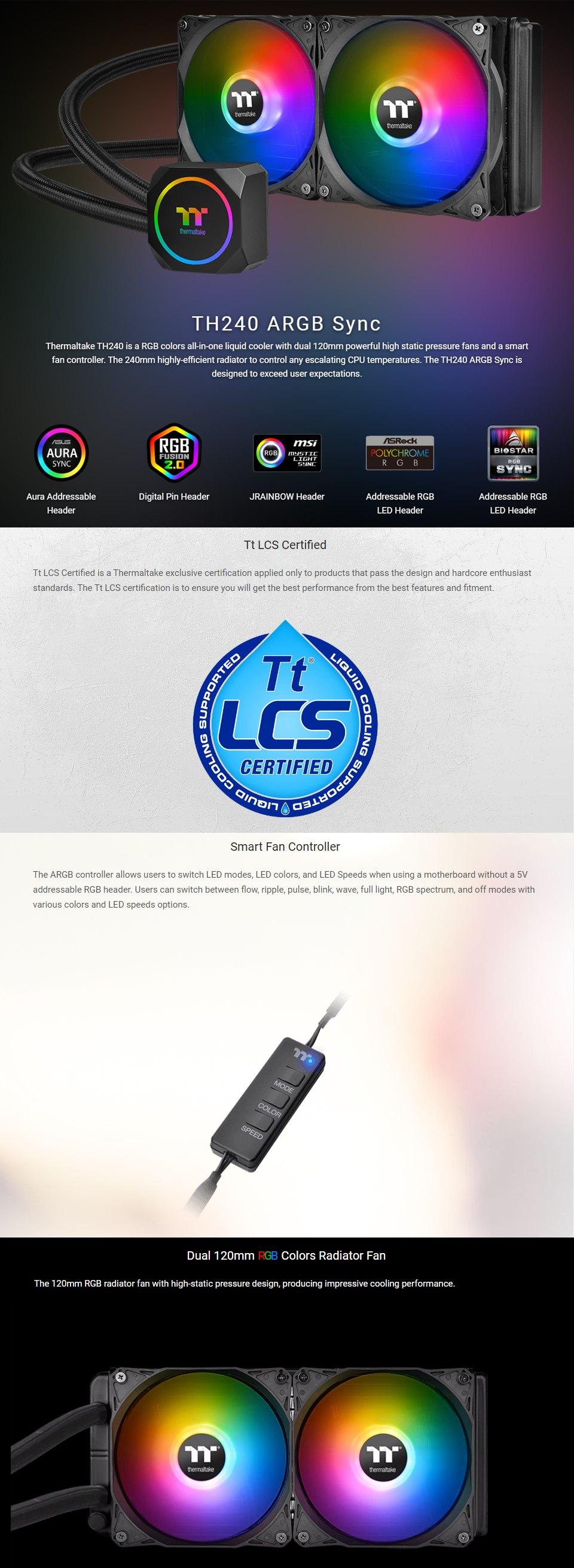 Thermaltake TH240 ARGB 240mm AIO Liquid CPU Cooler features