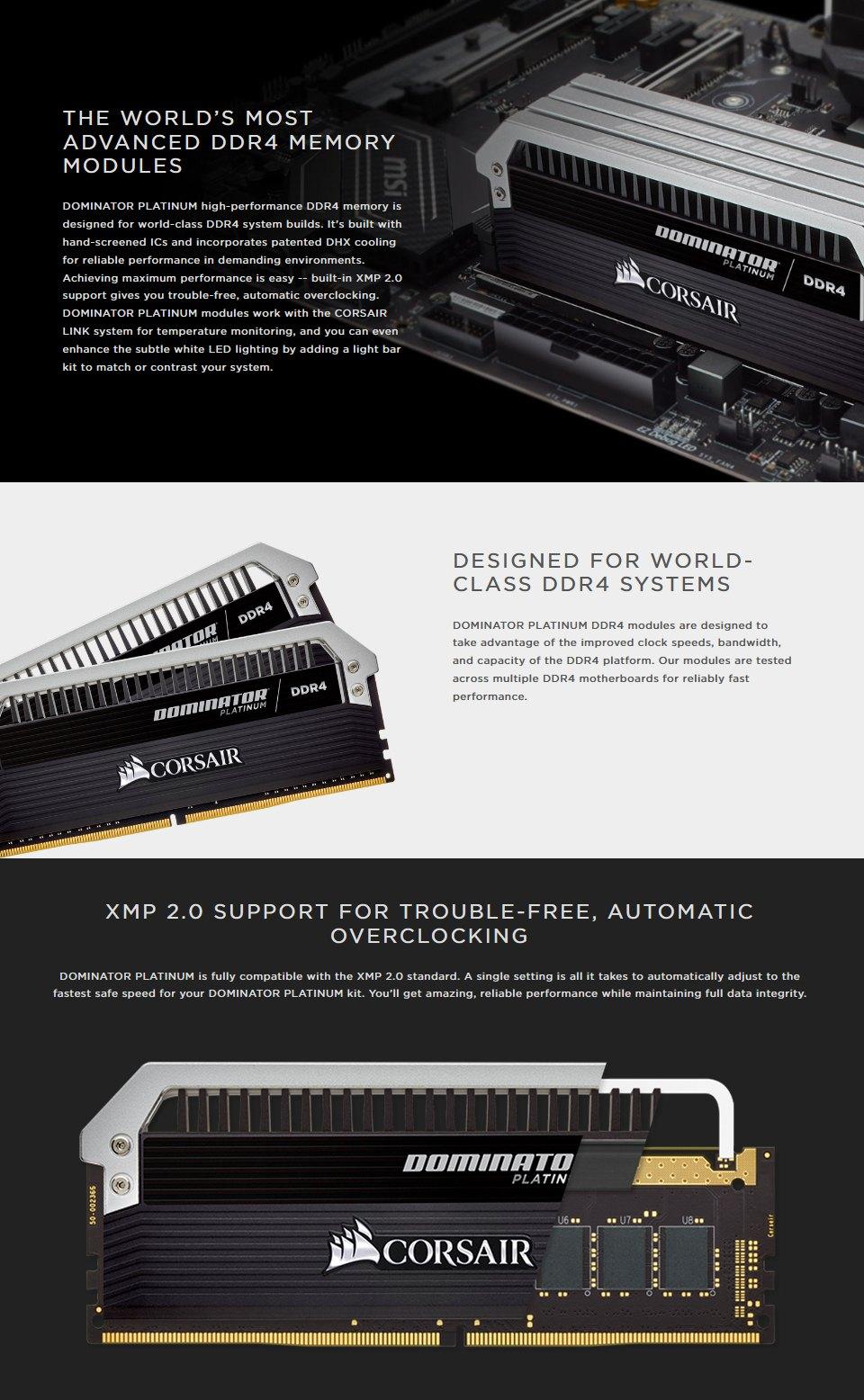 Corsair Dominator Platinum 64GB (4x16GB) 3200Mhz CL16 DDR4 features