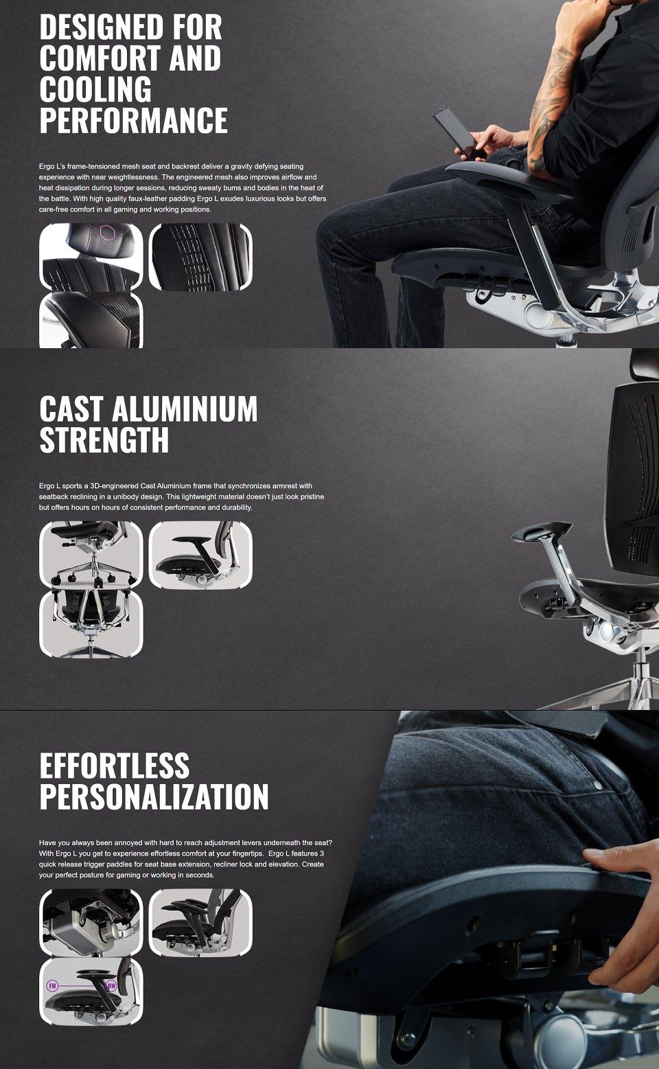 Cooler Master Ergo L Ergonomic Ultra Large Adjustable Chair features