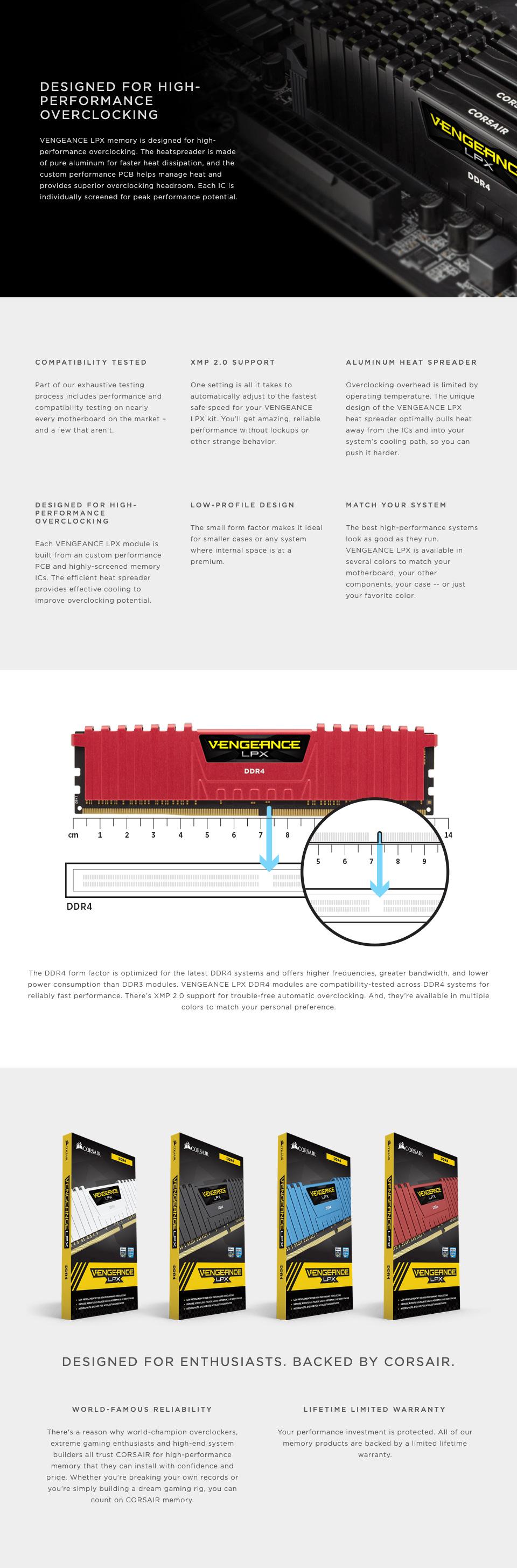 Corsair Vengeance LPX CMK32GX4M2Z3200C 32GB (2x16GB) DDR4 features