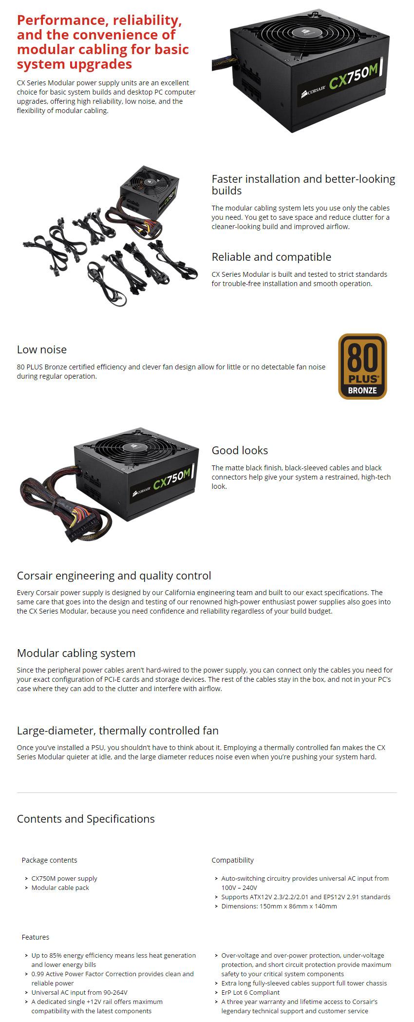 Corsair CX750M 750W Power Supply [CP-9020061-AU] : PC Case Gear