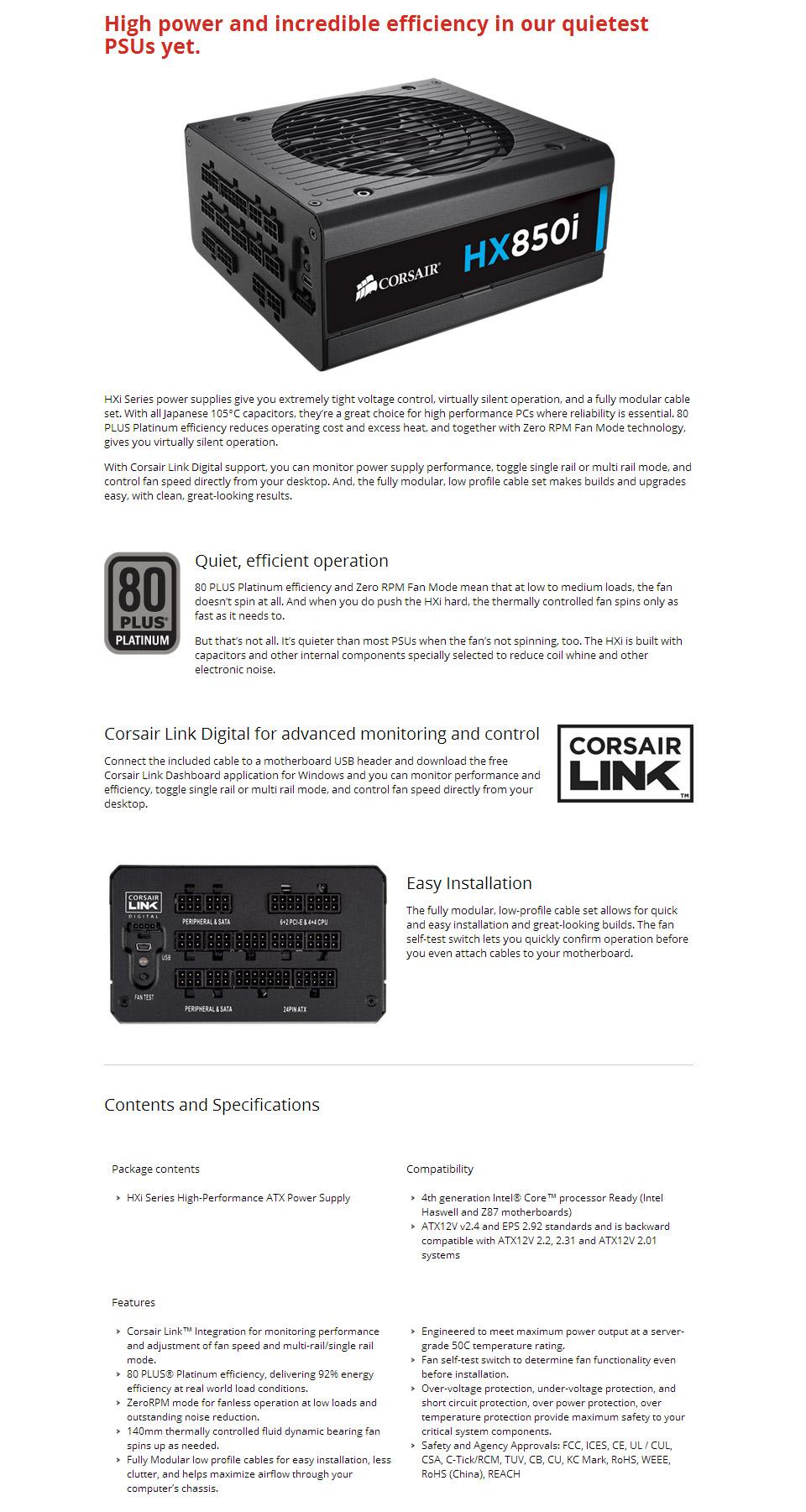 Corsair HX850i 850W 80 Plus Platinum Power Supply [CP-9020073-AU ...