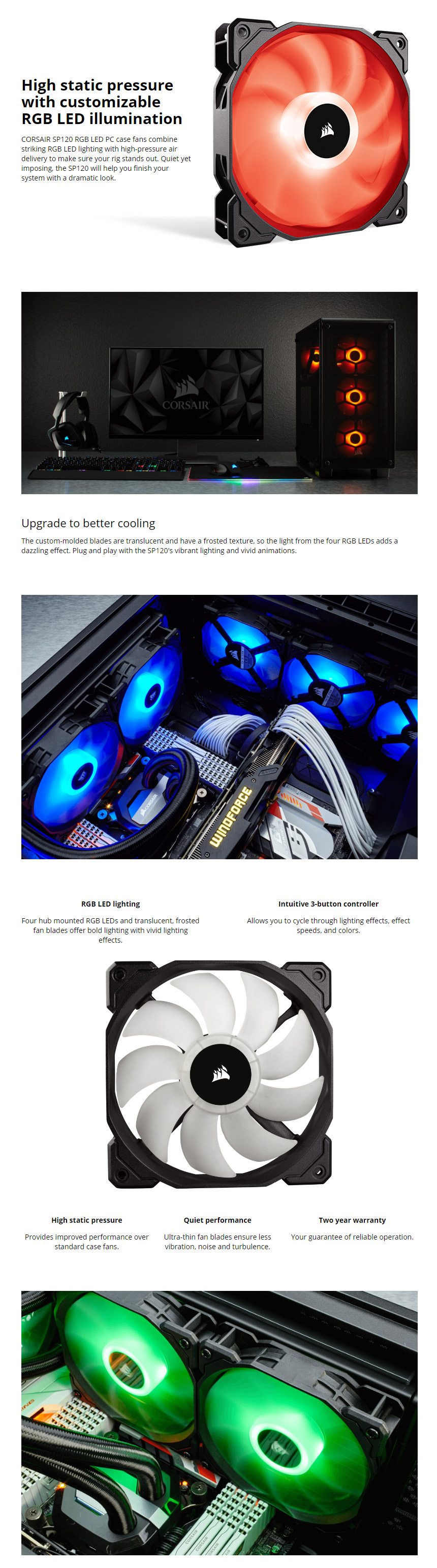 Corsair Sp120 Rgb Led 120mm Fans 3 Pack With Controller Co 9050061 The Will Help You Finish Your System A Dramatic Look Includes Fan And 6 Port Hub