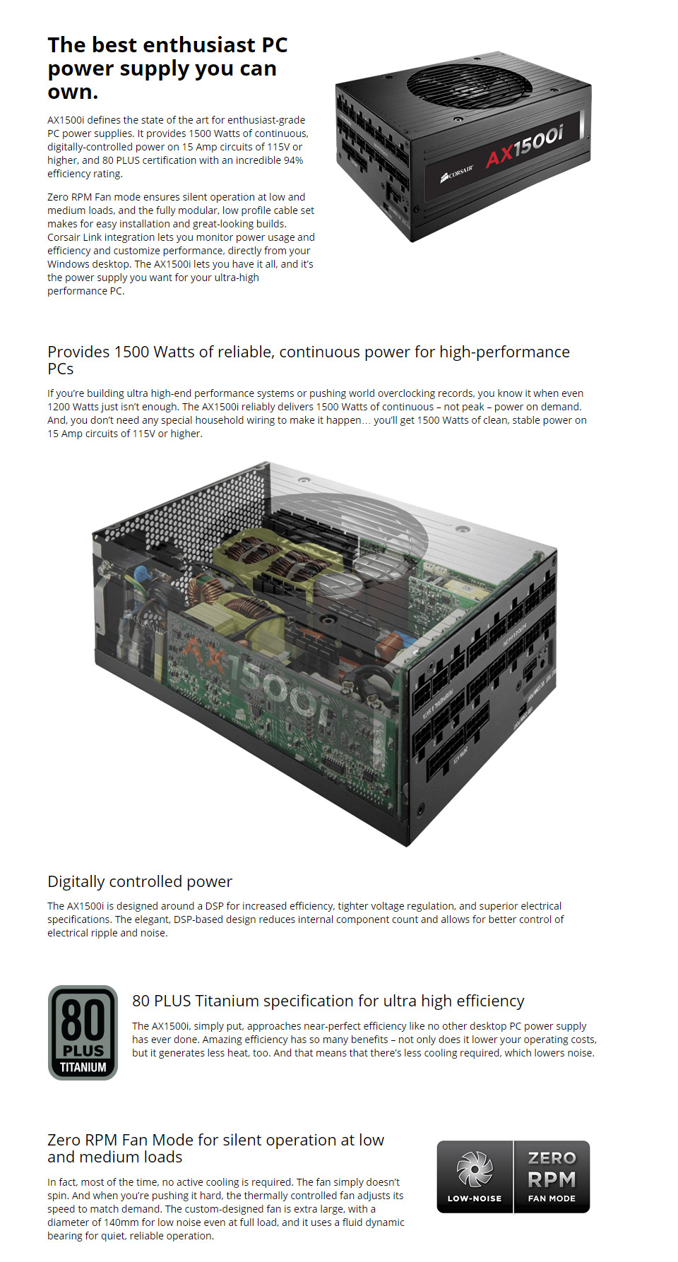 Corsair Ax1500i Digital Titanium Modular 1500w Power Supply Cp Ampcircuits Makes For Easy Installation And Great Looking Builds Link Integration Lets You Monitor Usage Efficiency Customise Performance