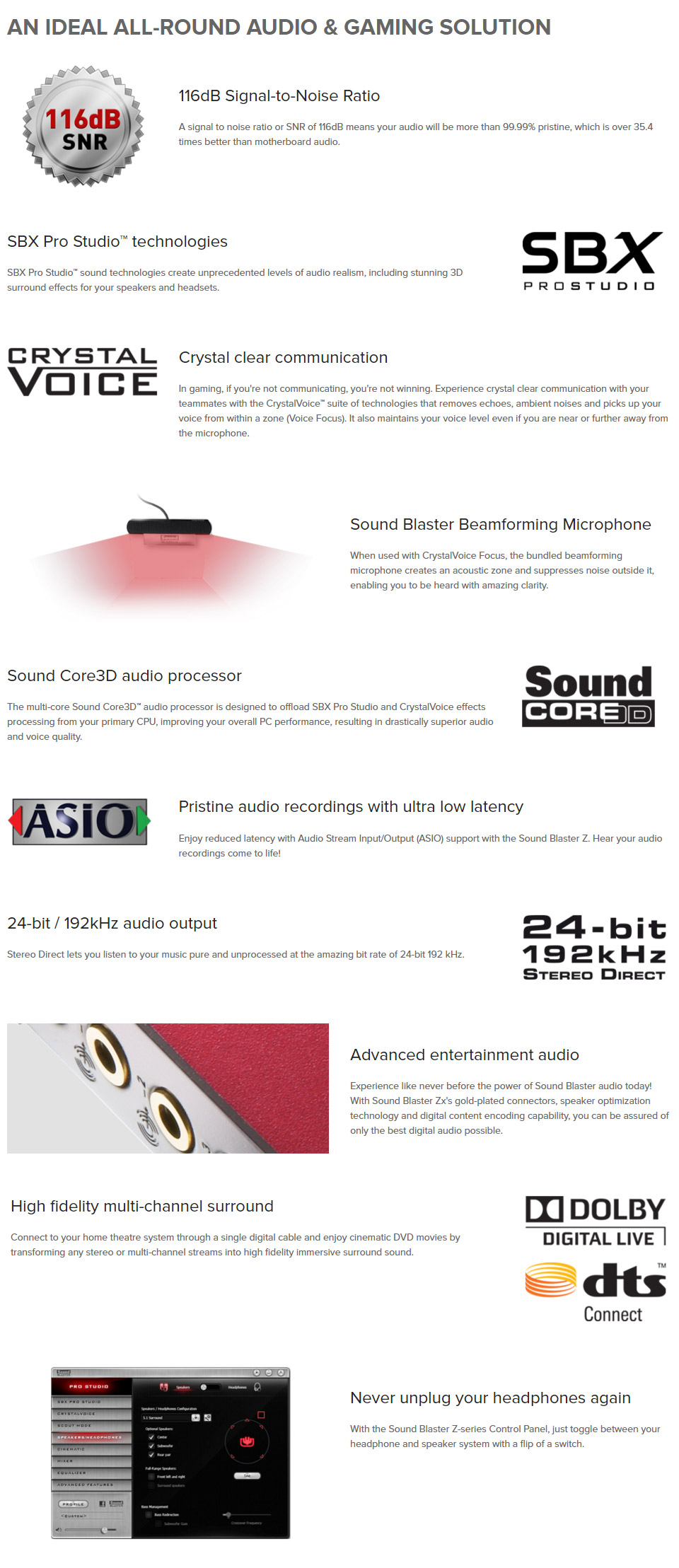 כרטיס קול פנימי Creative Sound Blaster Z-se