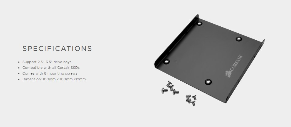 Corsair 2.5in SSD Mounting Bracket features