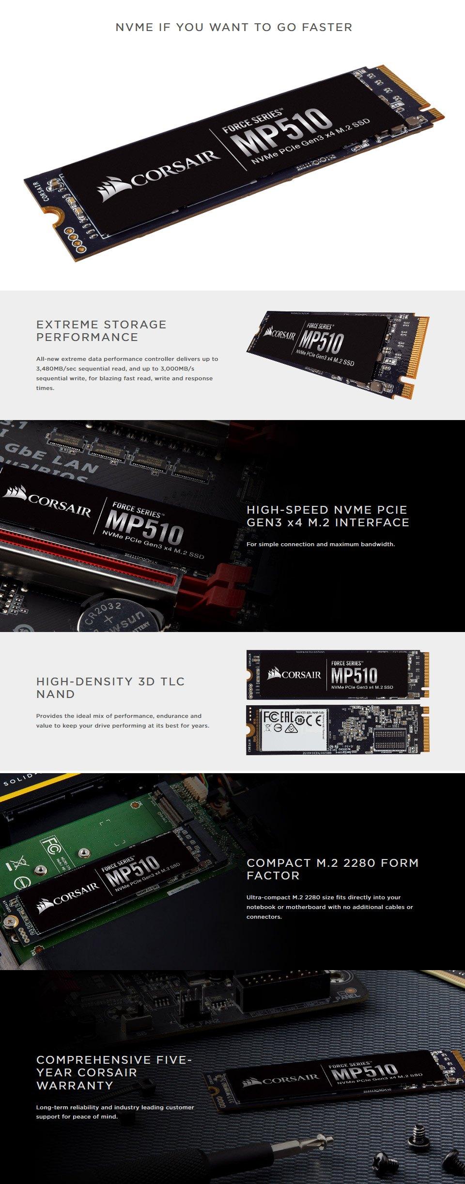 Corsair Force Series MP510B 960GB M.2 NVME SSD features
