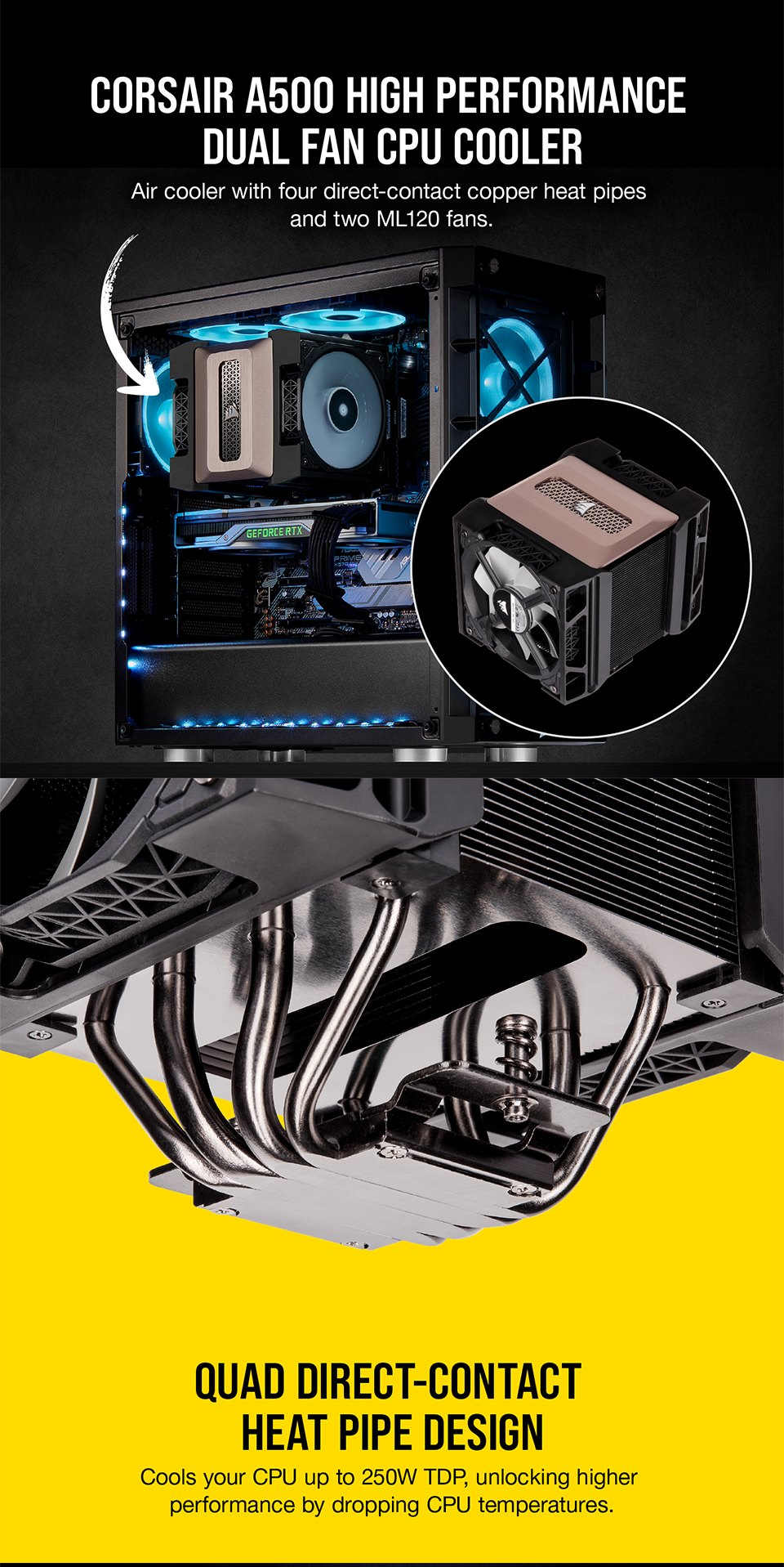 Corsair A500 High Performance Dual Fan CPU Cooler features